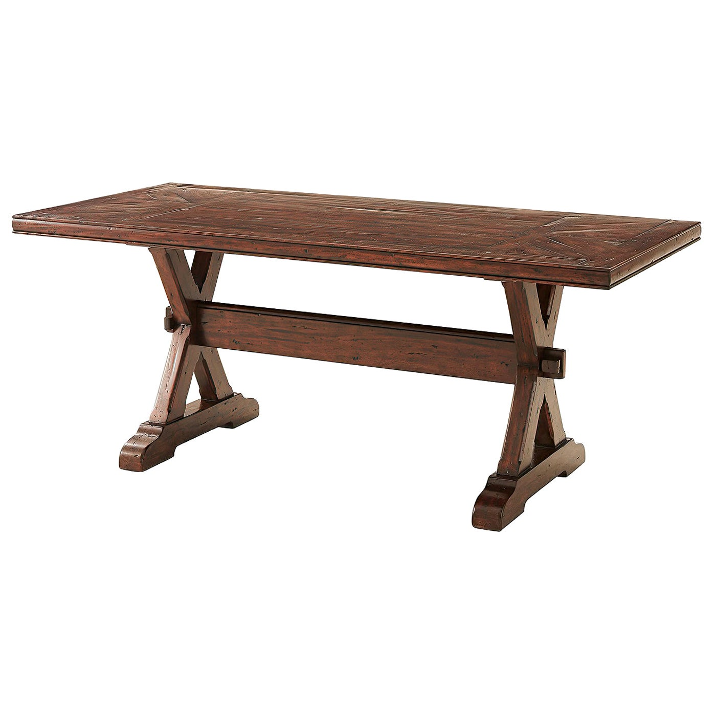 Country Antiqued Wood Refectory Dining Table