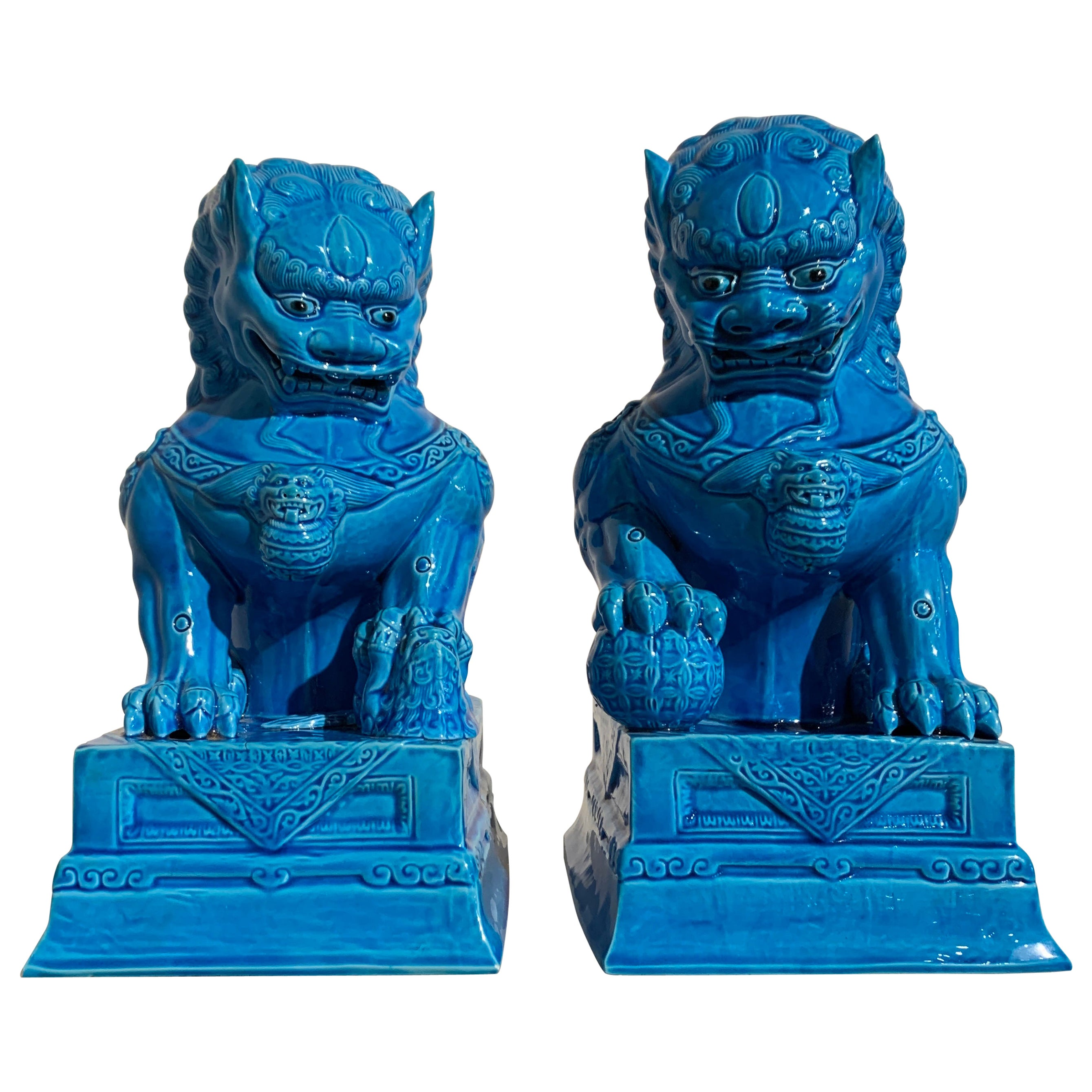 Pair of Vintage Chinese Turquoise Glazed Foo Lions, 1980s
