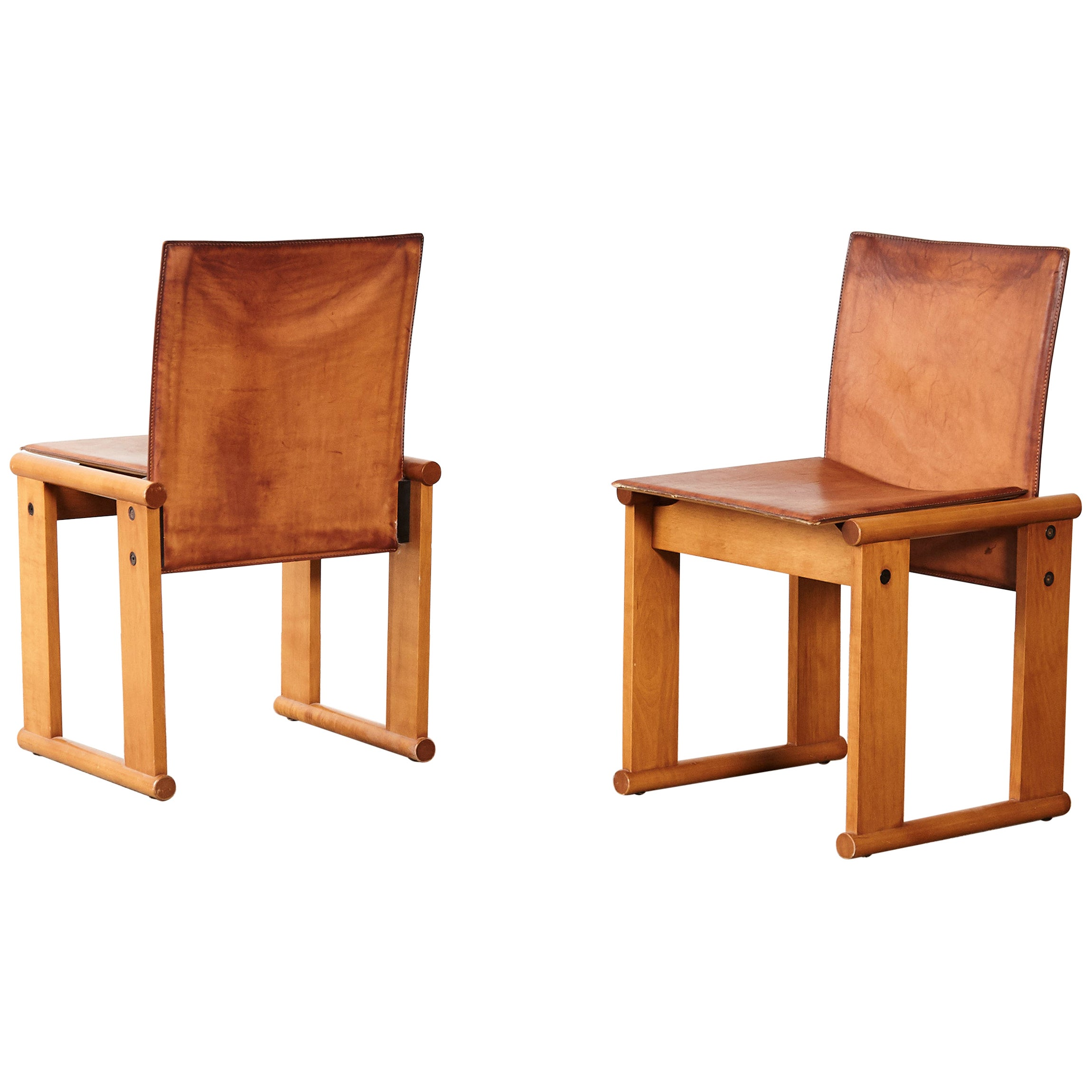 Pair of Afra & Tobia Scarpa Dining Chairs for Molteni, Italy, 1970s