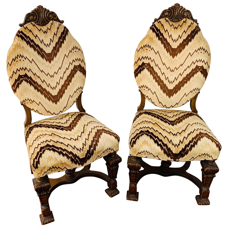 Gothic Renaissance Style Oak Side Chair, a Pair