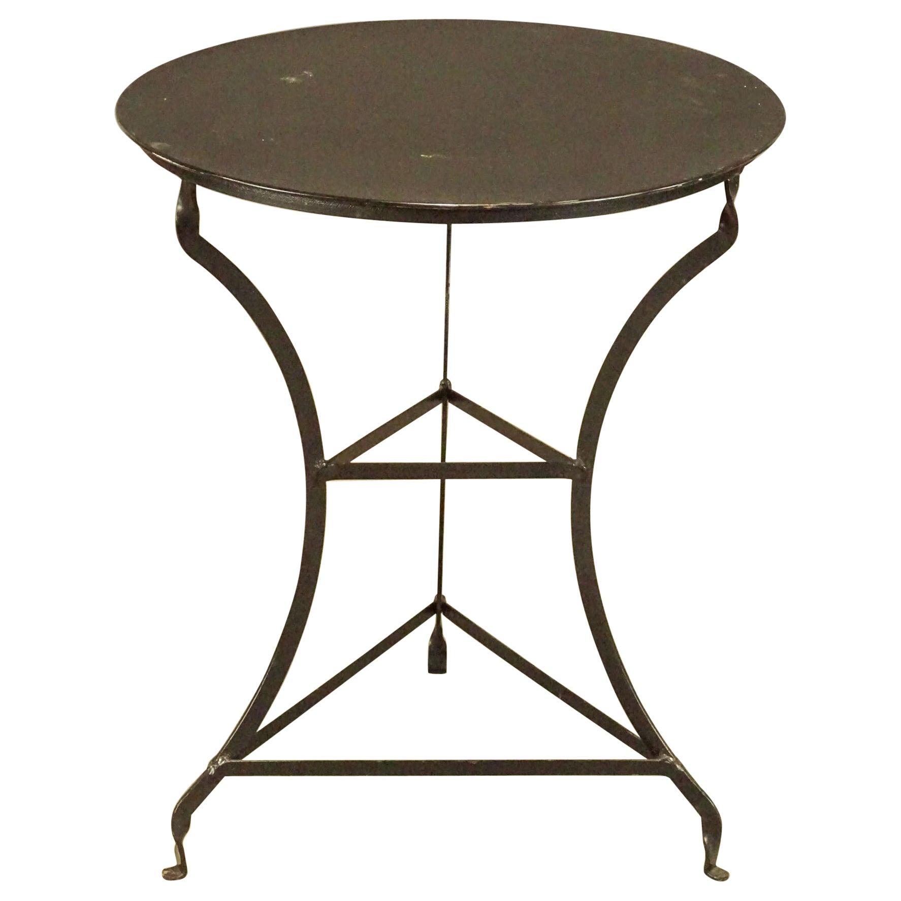 Round Vintage Metal Top Bistro Table