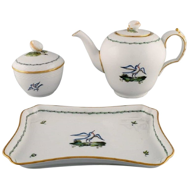 Royal Copenhagen Teapot, Sugar Bowl and Tray in Hand Painted Porcelain