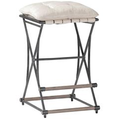 Chamois Linen and Iron Counter Stool