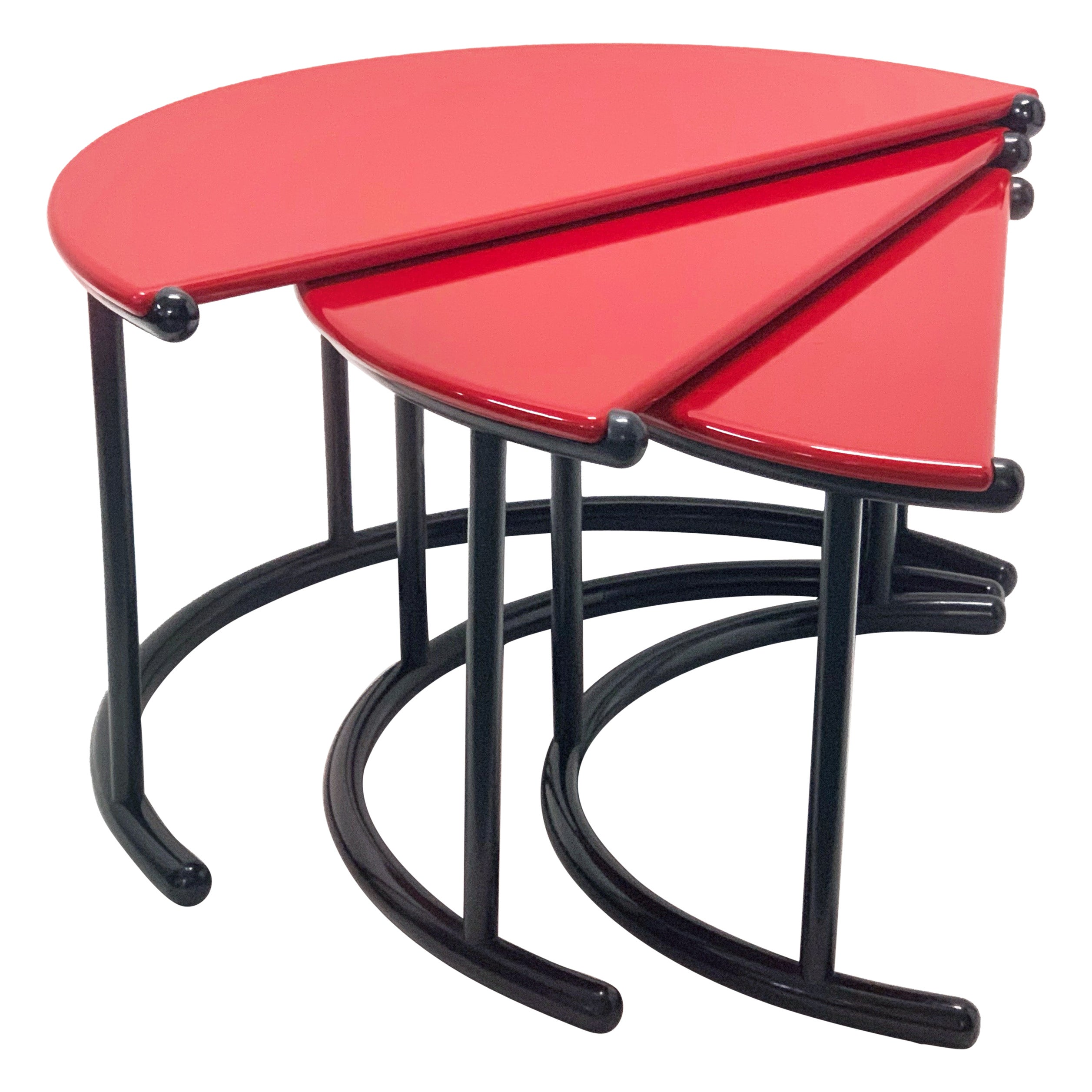 Gianfranco Frattini 'Tria' Red Italian Nesting Tables for Morphos Acerbis, 1980s