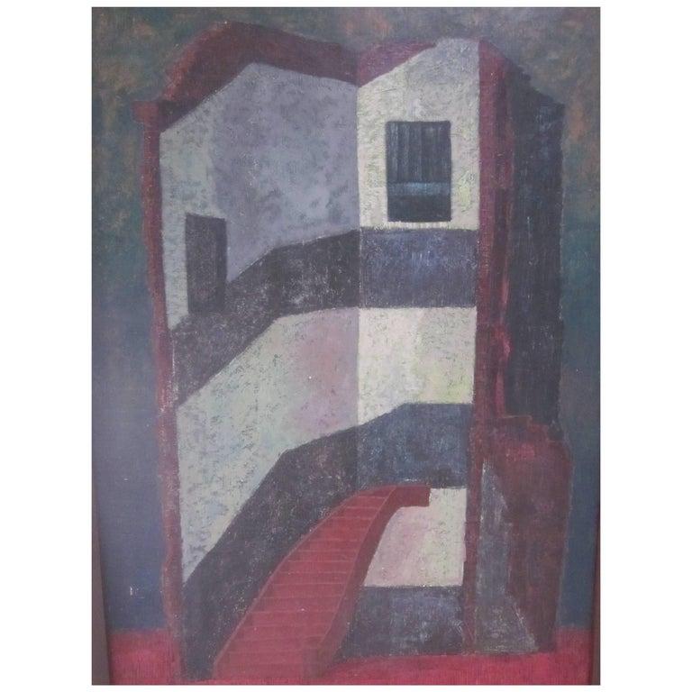 Metaphysical Painting by Roger Hullaert, Belgium, 1932-1988