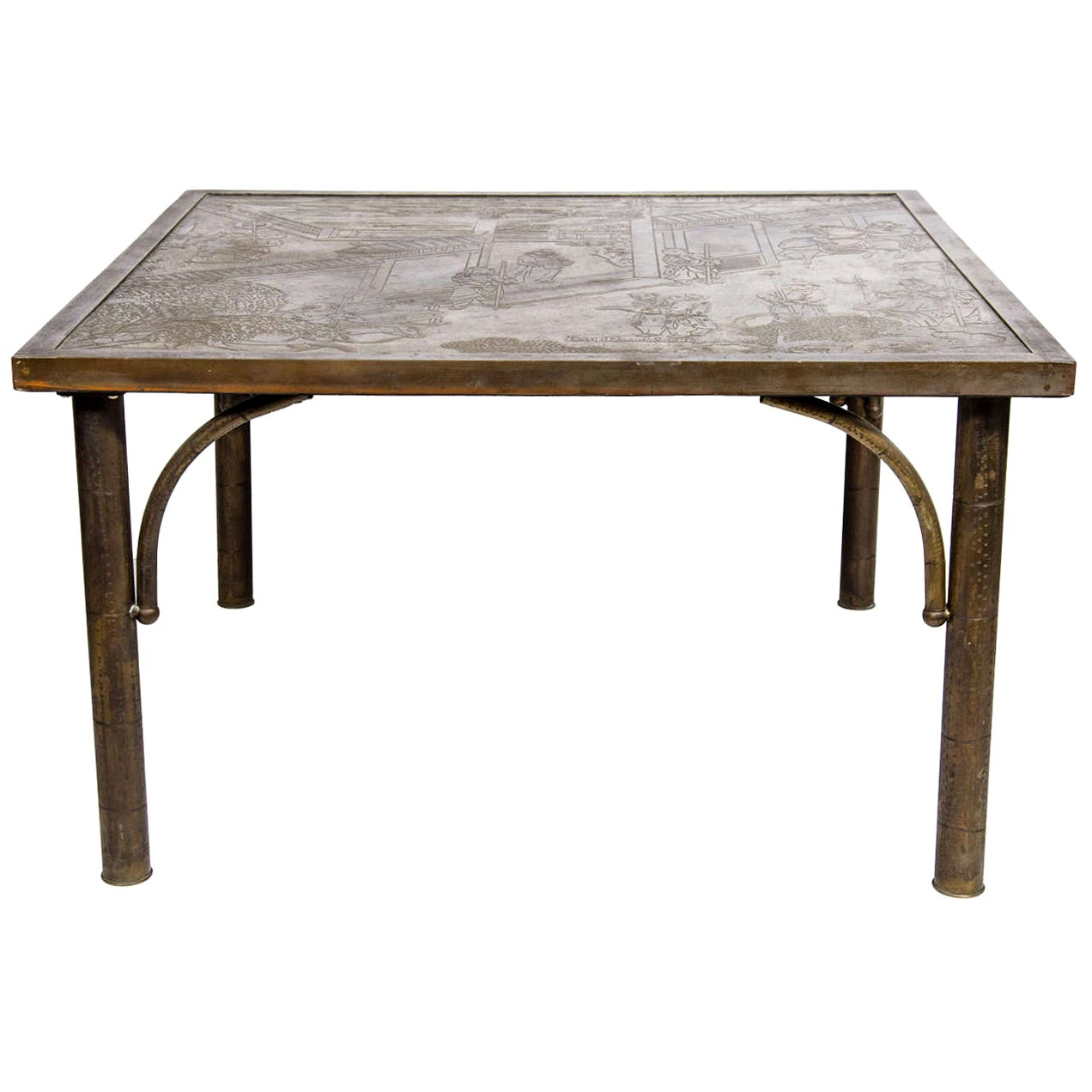 """Midcentury Acid Etched Cocktail """"Chan Series"""" Table by Philip and Kelvin LaVerne"""
