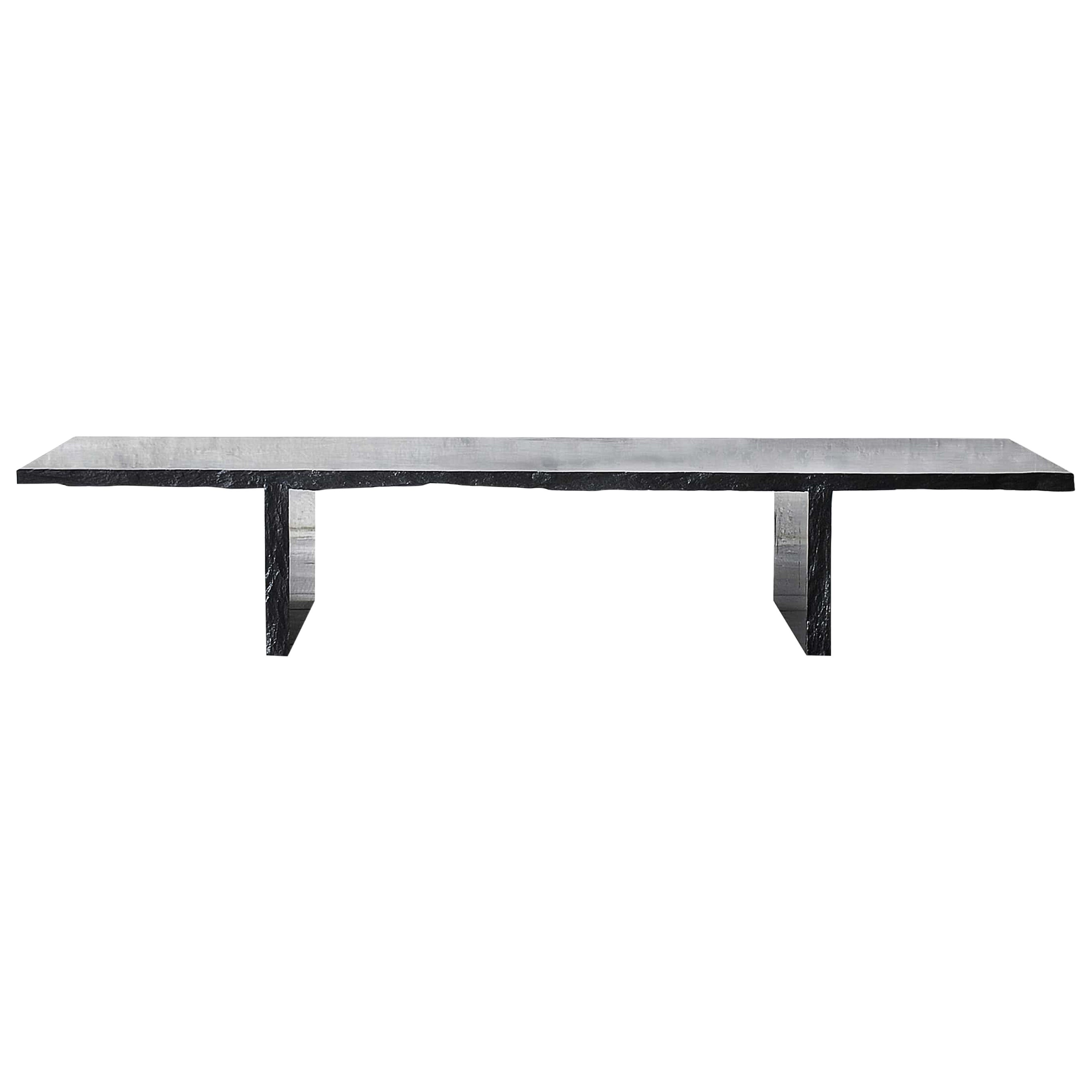 Sculpted Marble Slate Coffee Table, Fruste by Frederic Saulou