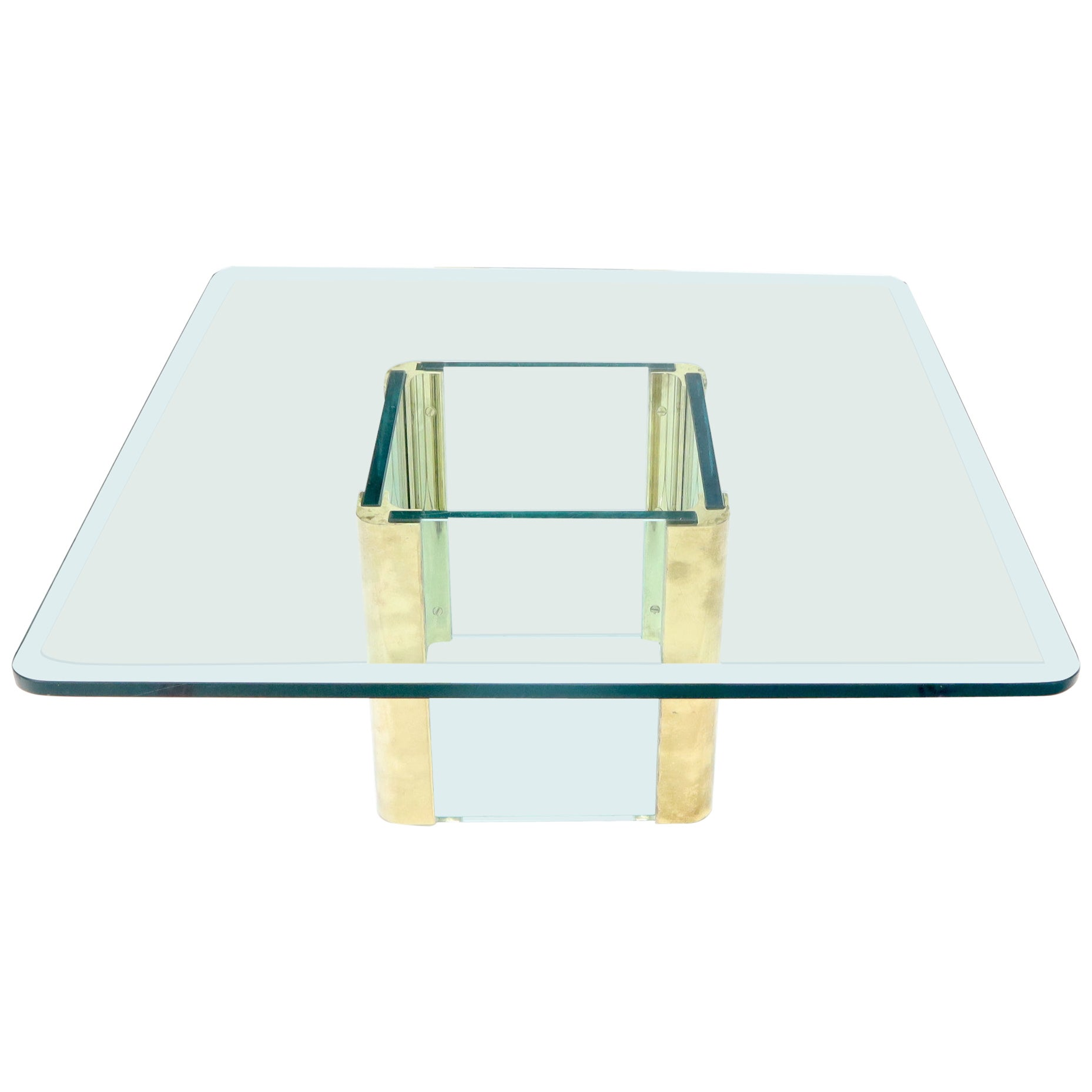 Mid-Century Modern Square Glass and Brass Coffee Table