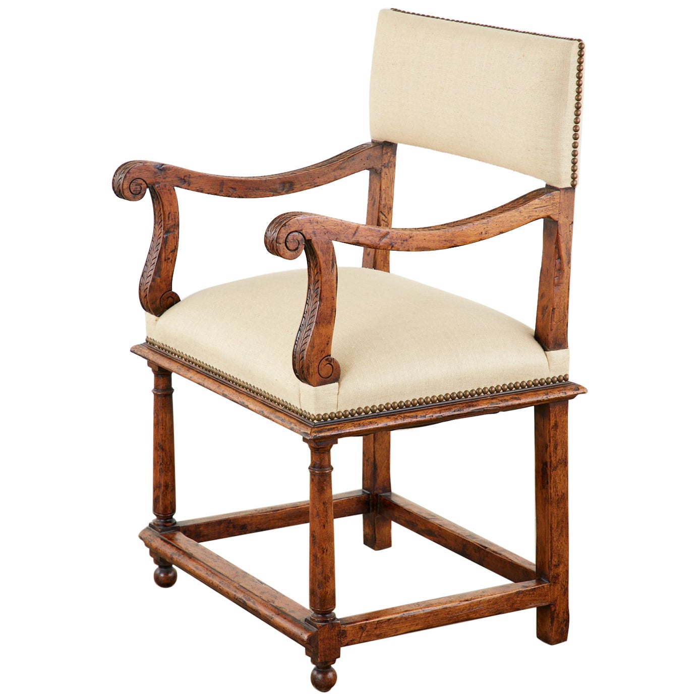 English Gothic Revival Wainscot Style Carved Hall Chair