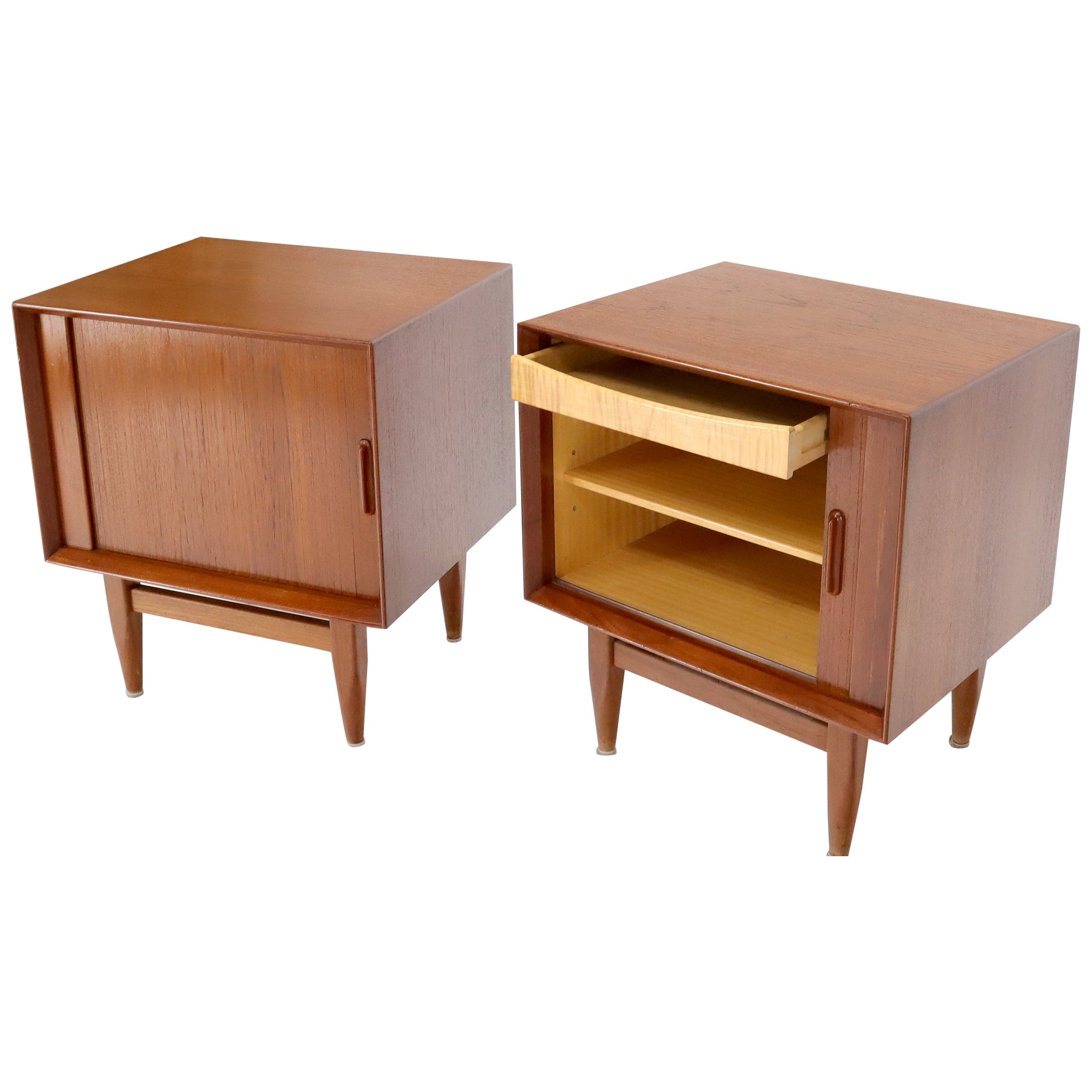 Tambour Doors Danish Mid-Century Modern Teak End Tables Nightstands