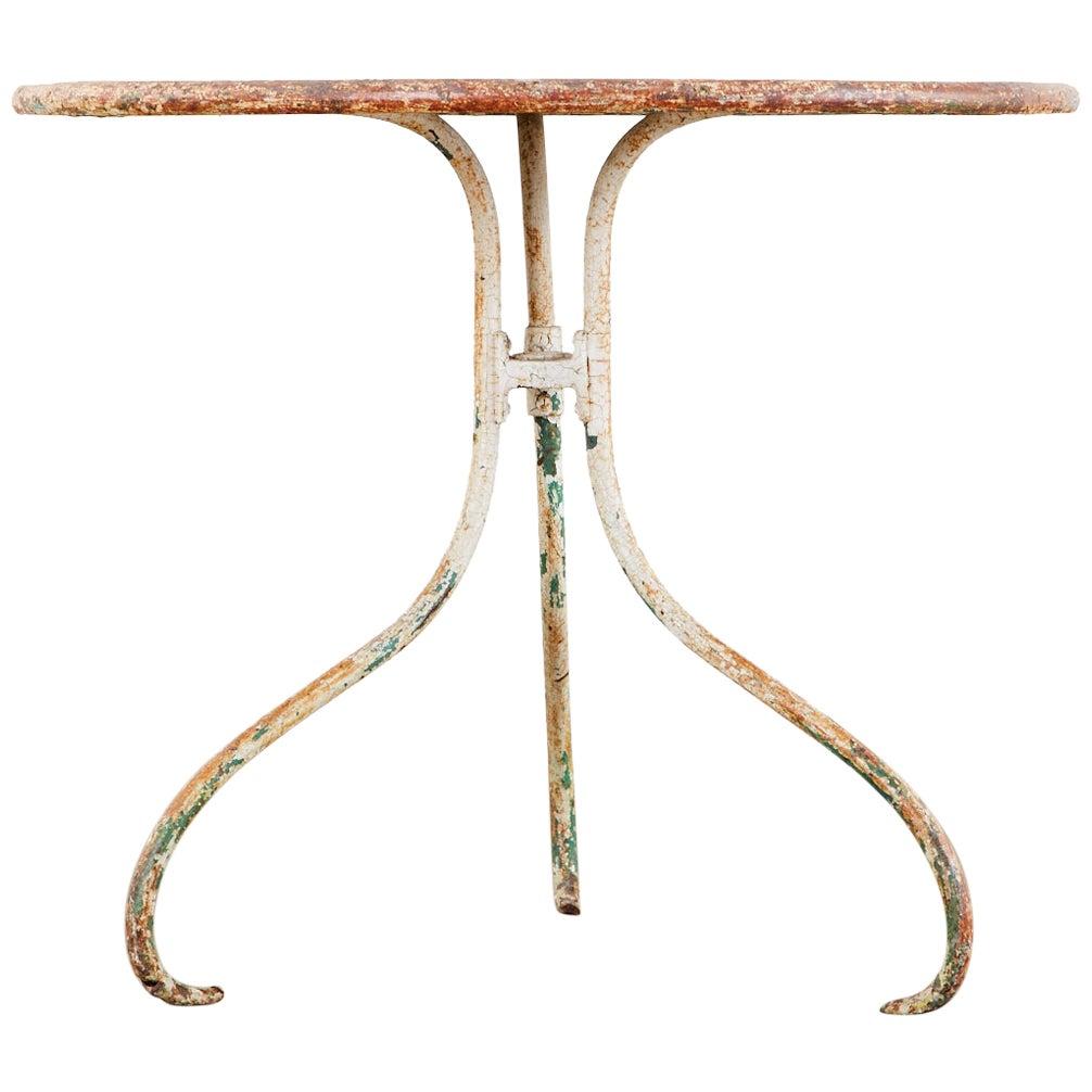 French Art Nouveau Iron Bistro Garden Dining Table