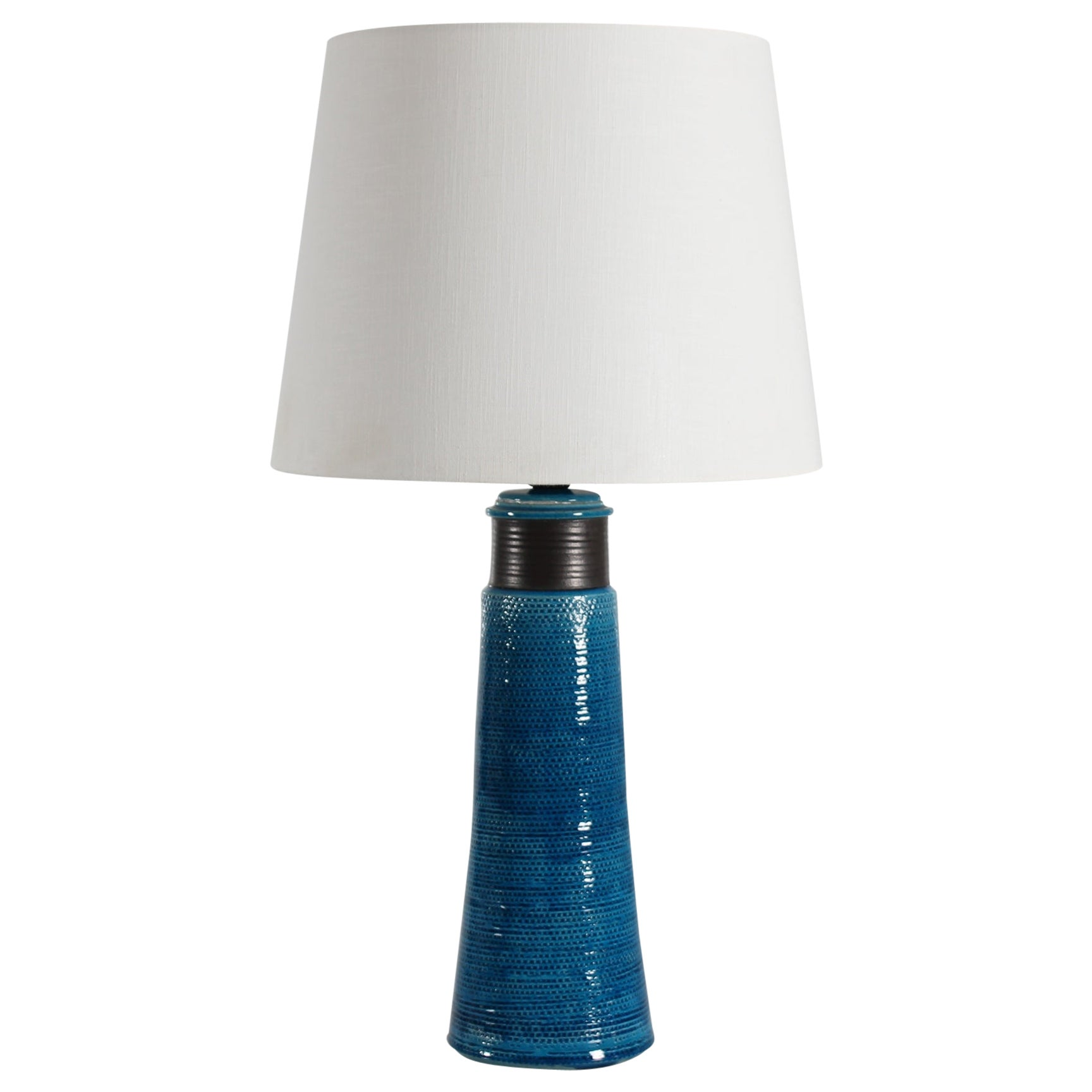 Huge Herman A Kähler Tablelamp with turquoise glaze made in Denmark Mid-century