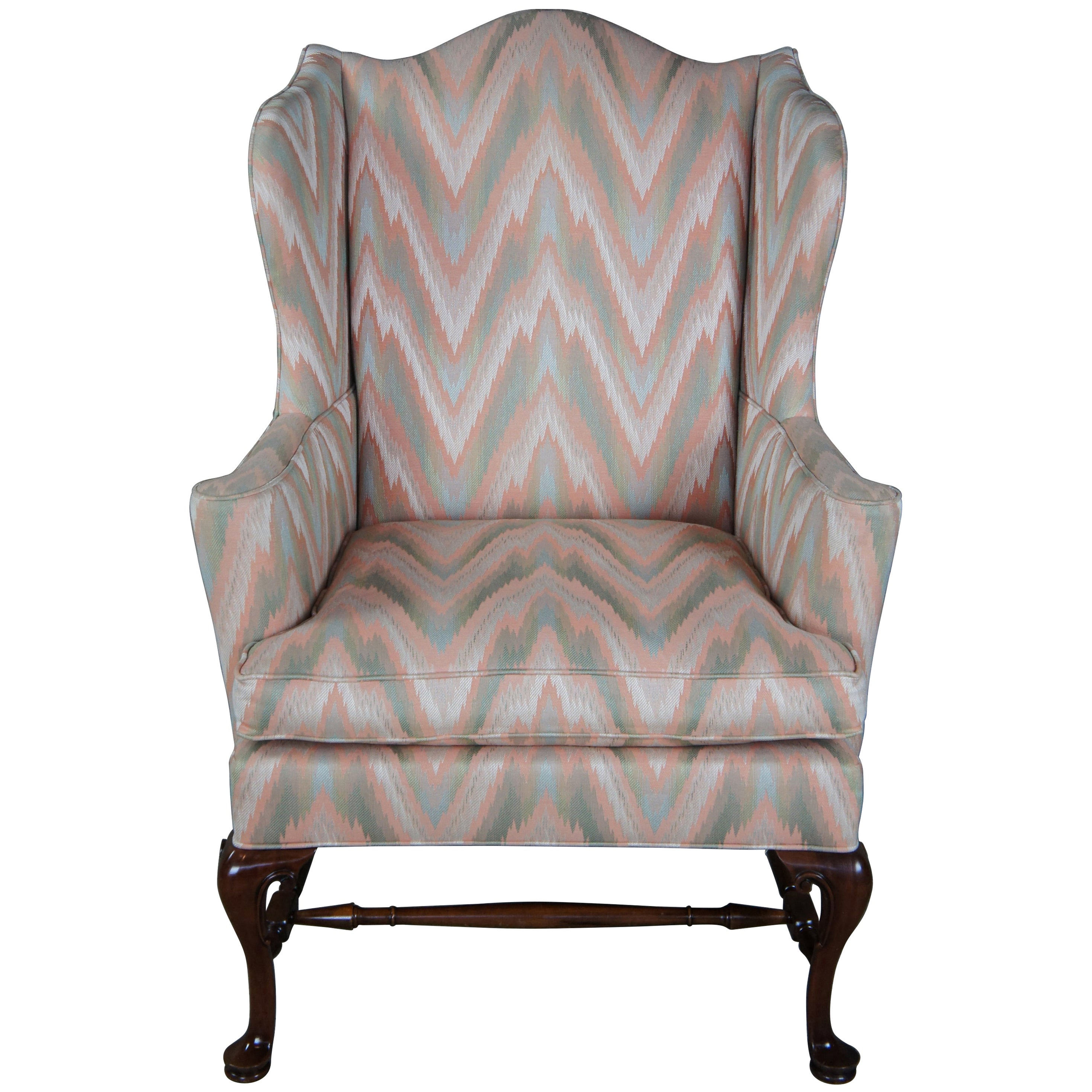 Vintage Southwood Queen Anne Mahogany Wingback Armchair Club Library George II