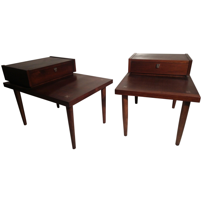 Pair of Mid-Century Modern Mahogany End Tables by Merton Gershun