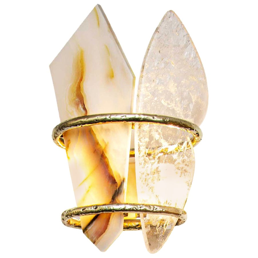 """""""Two-Free"""" Contemporary Wall Lamp, Rock Crystal, Onyx Stone, Cast Melted Brass"""