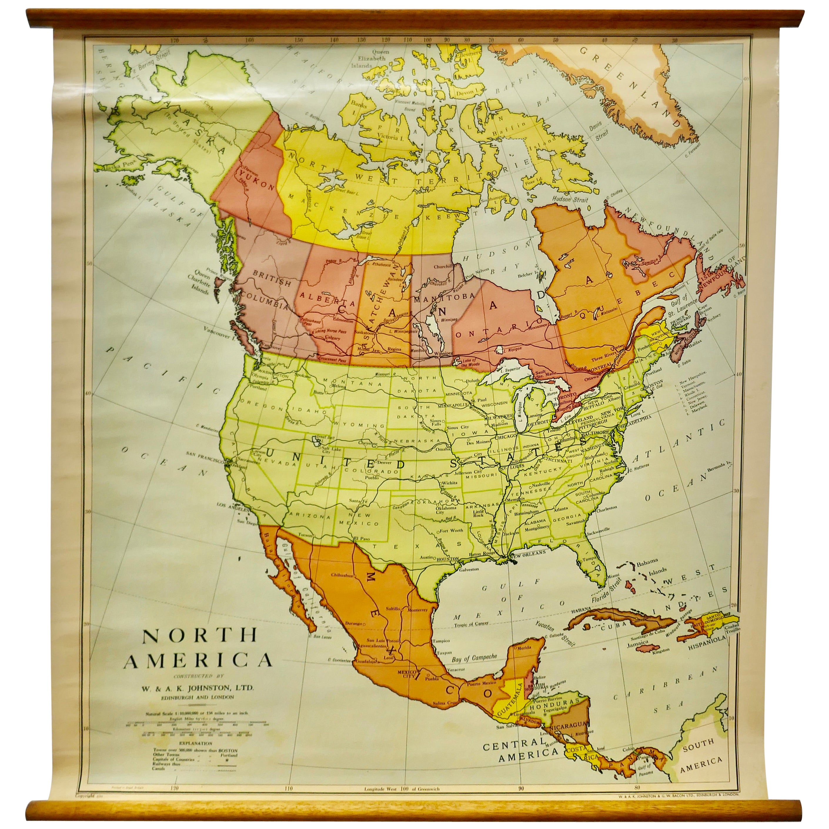 """Large University Chart """"Political Map of North America"""" by Bacon"""