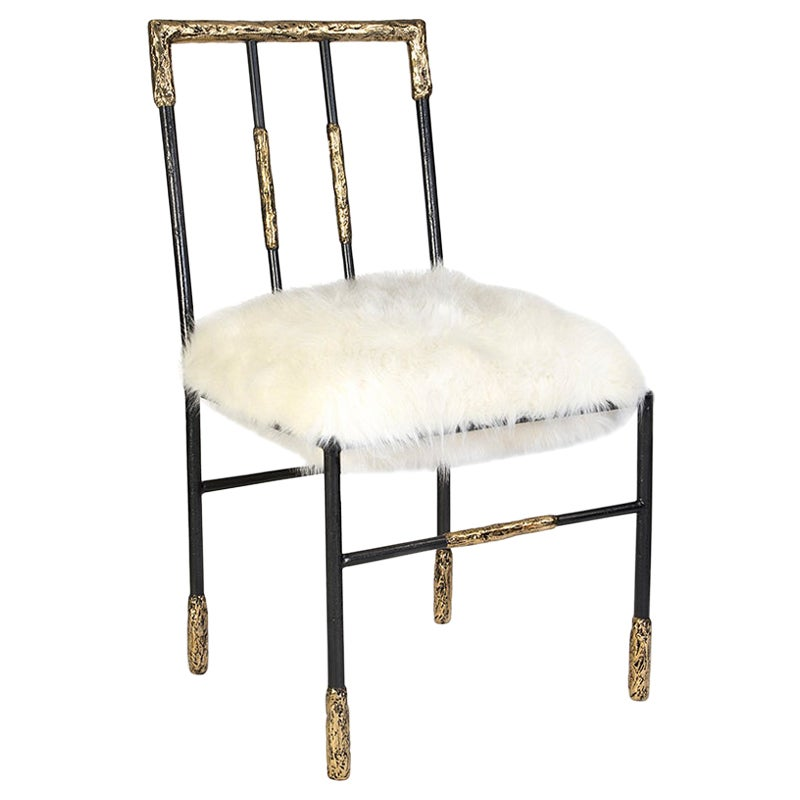 21st Century Viking Dining Chair in Brass and Synthetic Fur Cushion, Art Chair