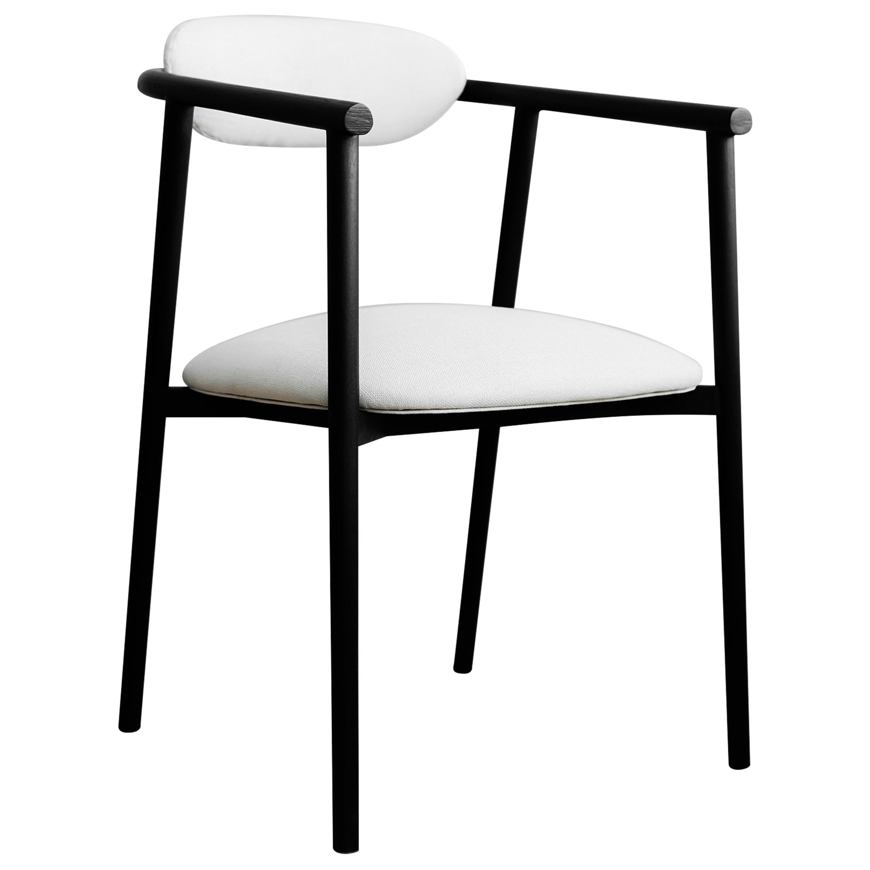 Neutra Black Inked Oak Chair with White Upholstered Backrest and Seat