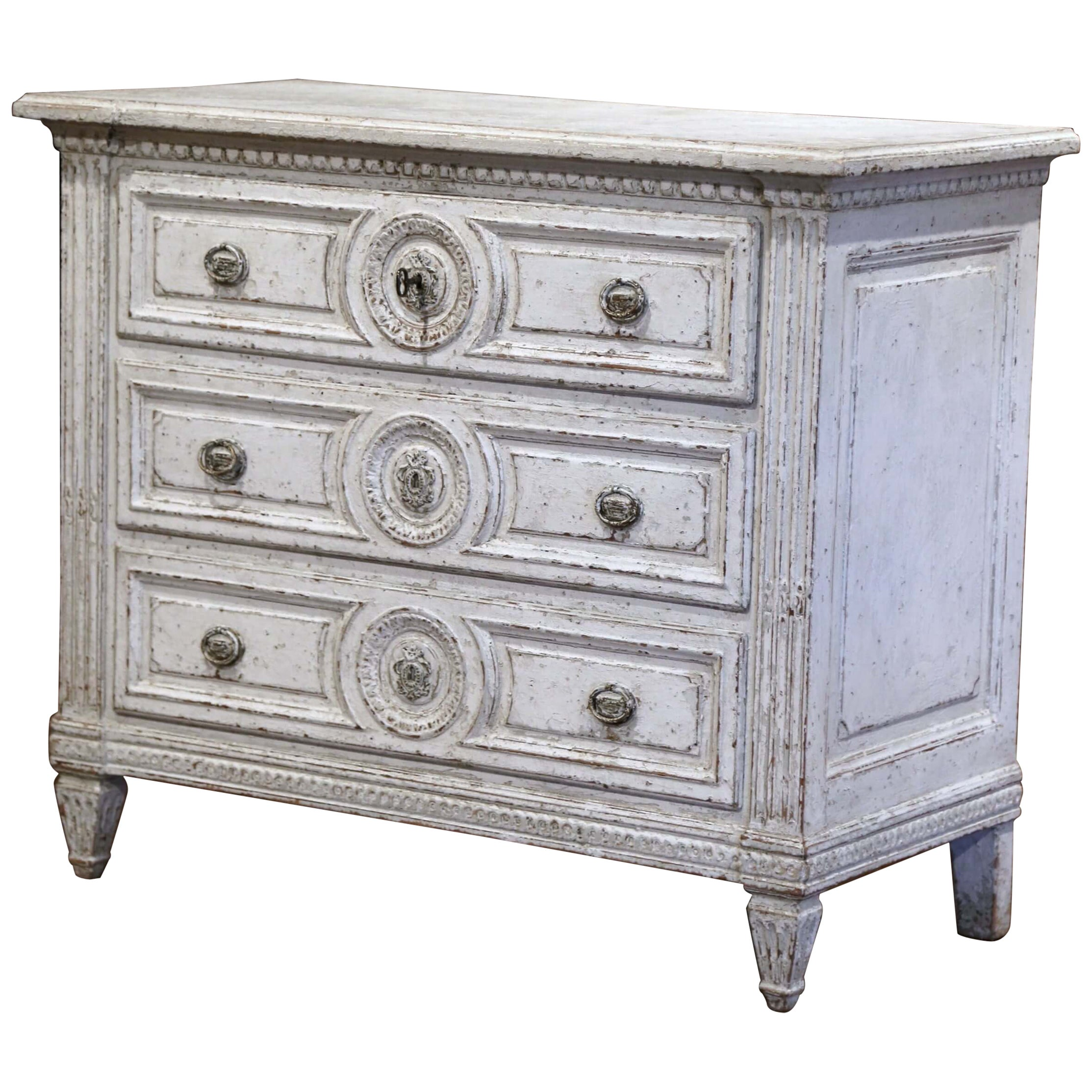 19th Century Louis XVI Carved and Painted Three-Drawer Commode Chest