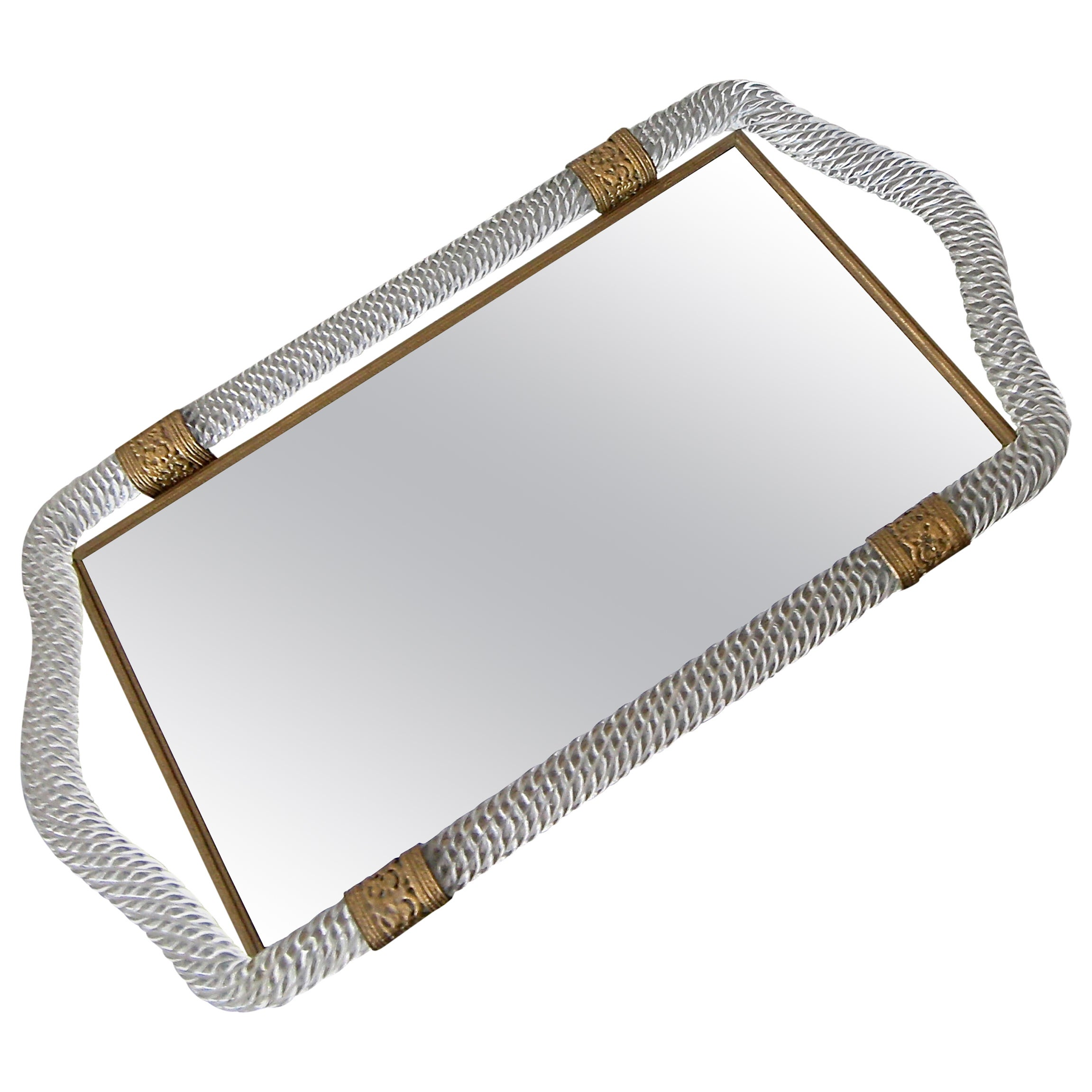 Murano Twisted Rope Glass Vanity Tray