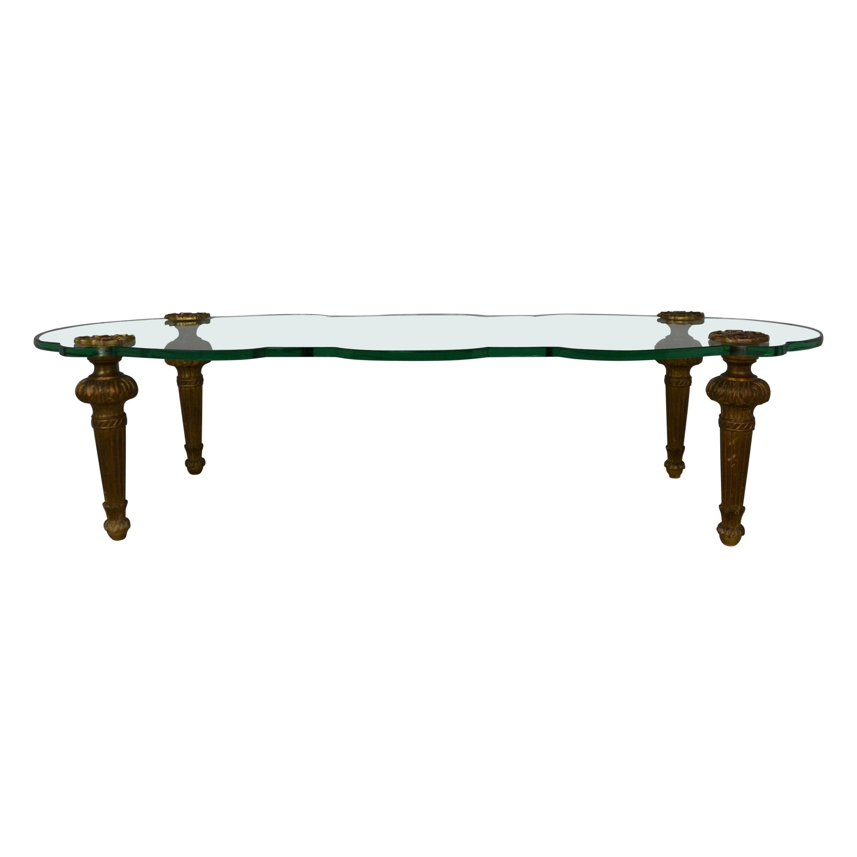 Italian Glass Top Coffee Table