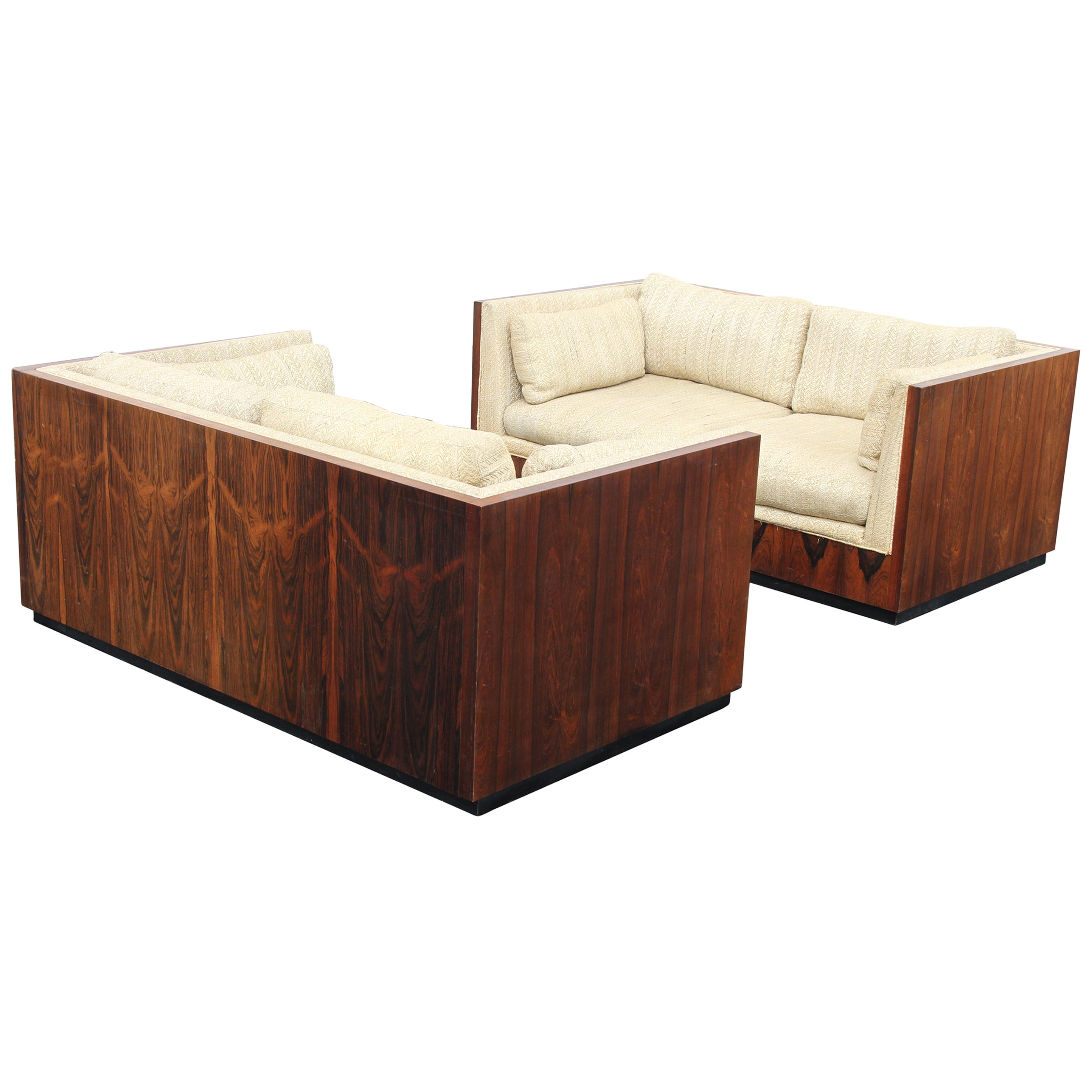 Pair of Milo Baughman for Thayer-Coggin Rosewood Settees, Loveseats or Sofas