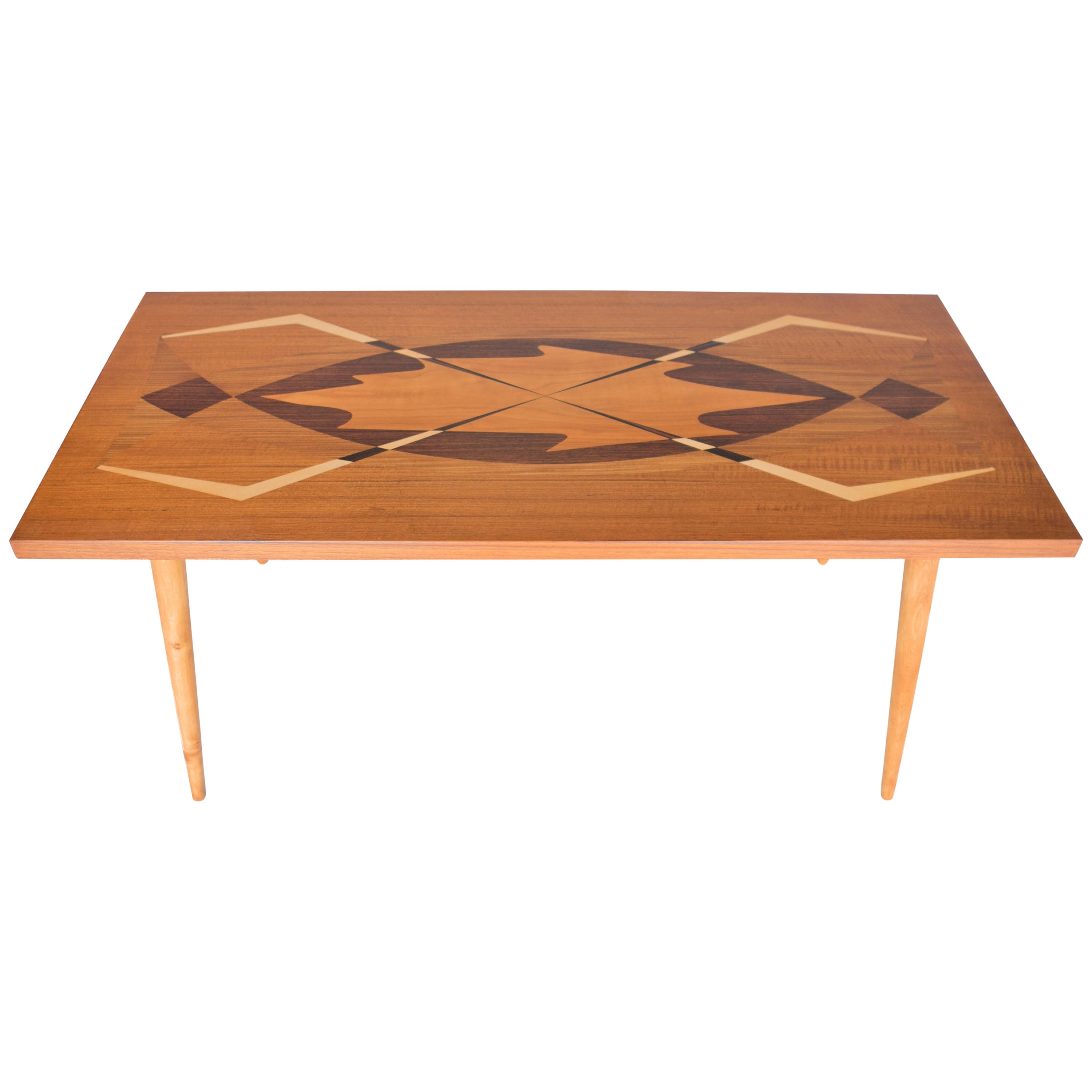 Swedish Modern Coffee Table with Exotic Wood Inlay, Sweden, 1950s
