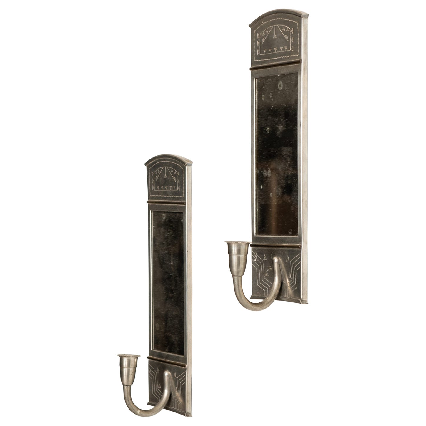 Wall Candlesticks Produced by Rudolf Zibell Metallvarufabrik in Eskilstuna