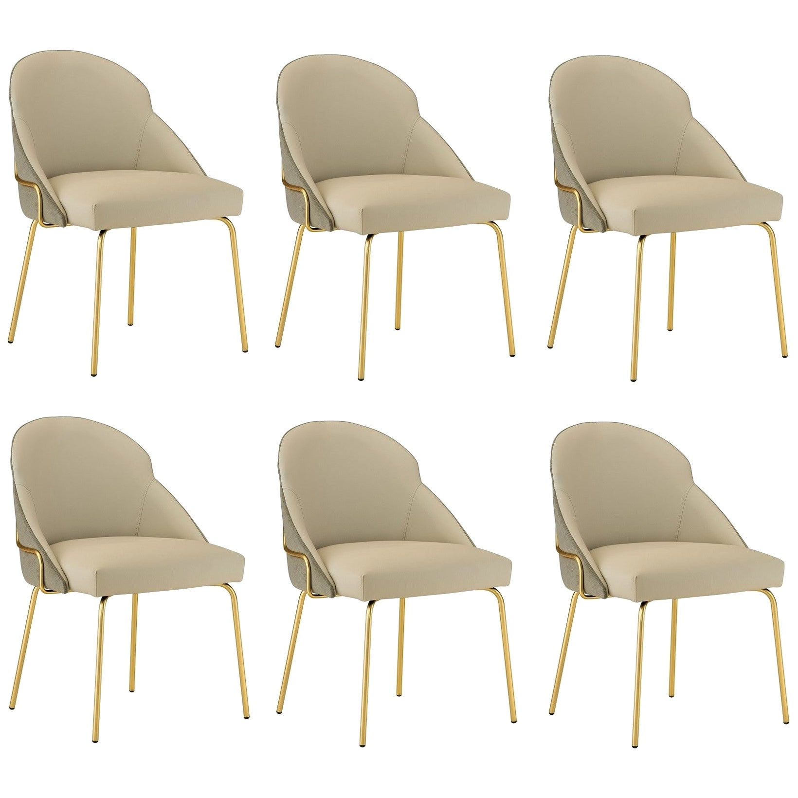 Contemporary Upholstered Dining Chairs in Brass Coating