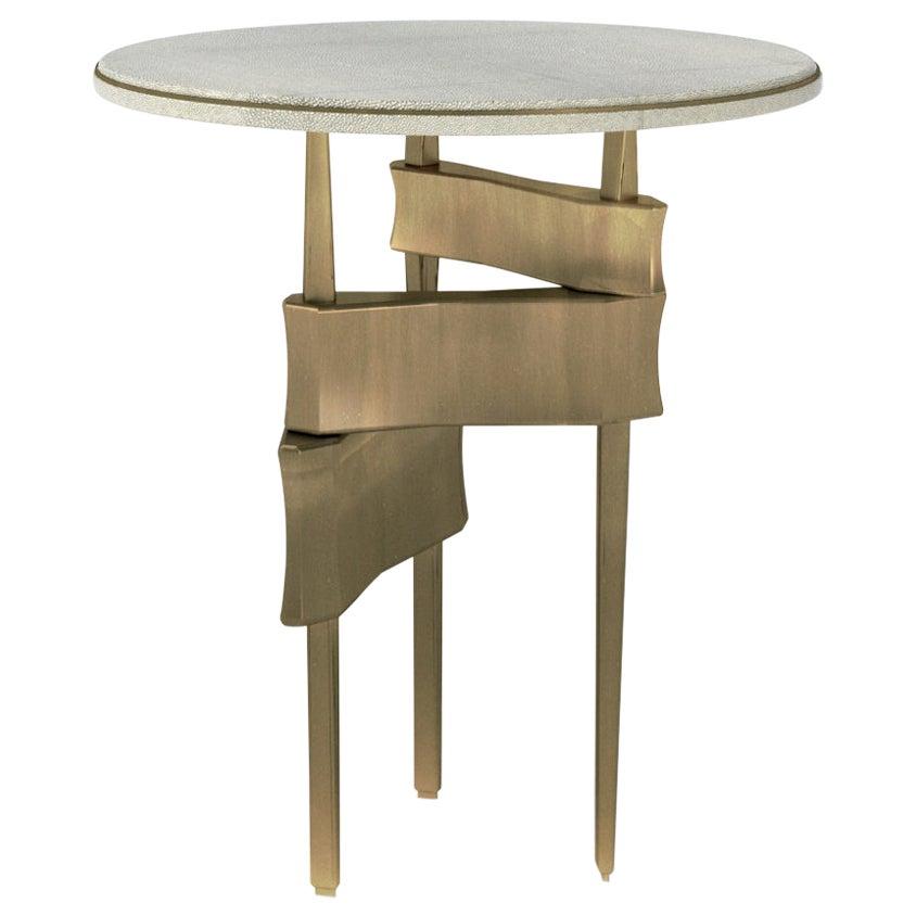 Metropolis Side Table in Cream Shagreen and Bronze-Patina Brass by Kifu Paris