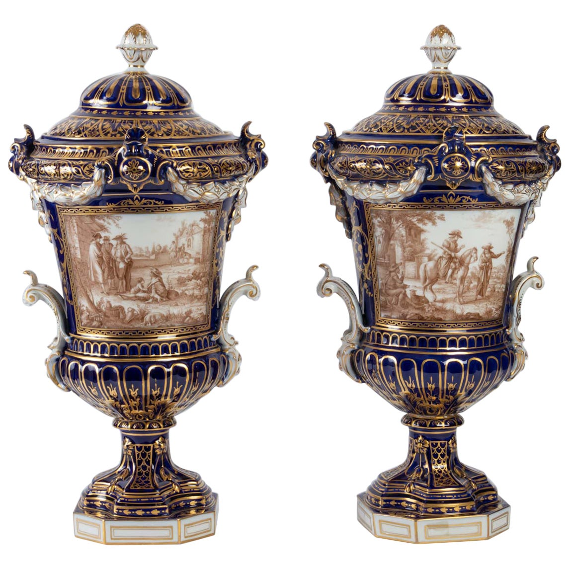 Pair of Covered Porcelain Vases