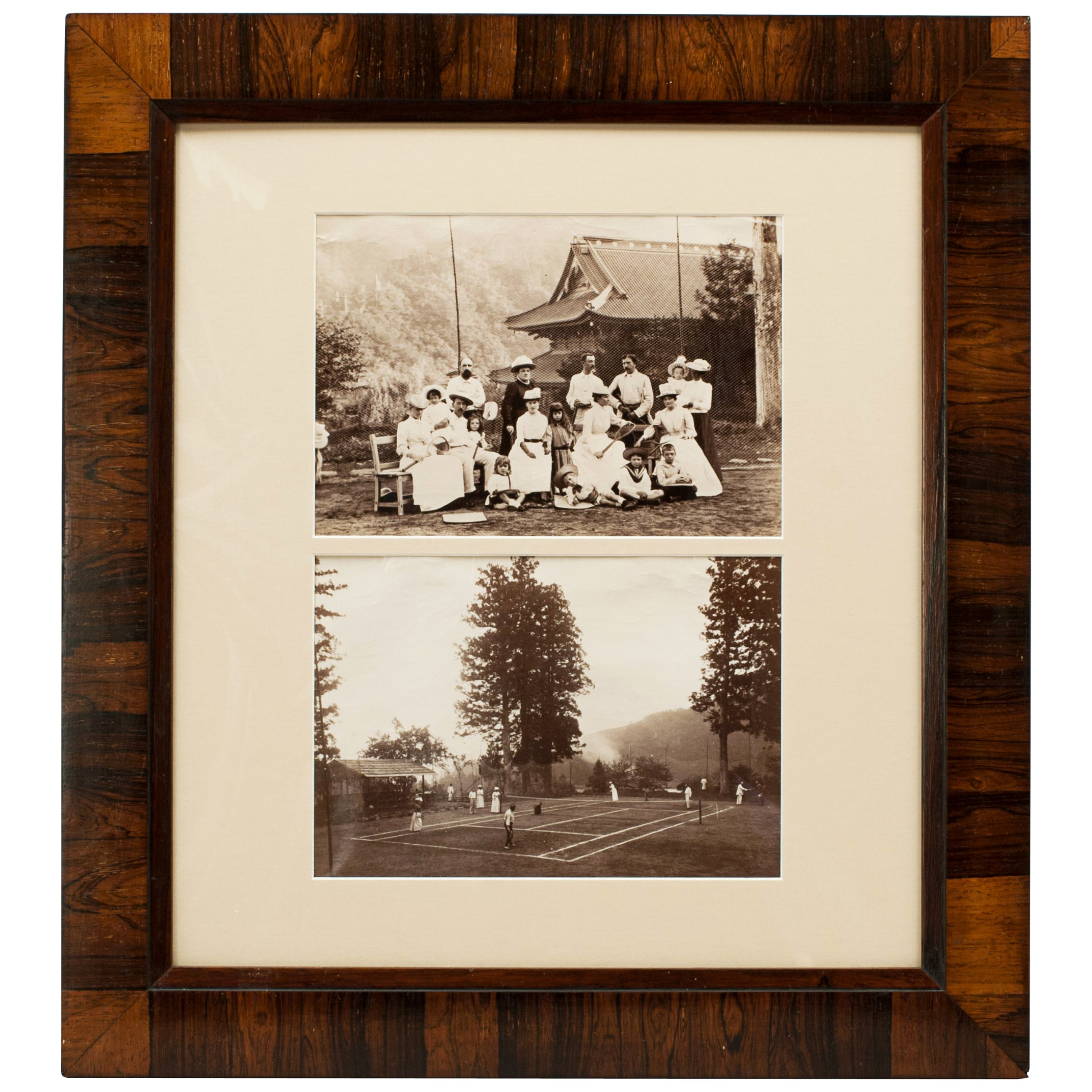 Antique Tennis Photographs, Colonial in Rosewood Frame