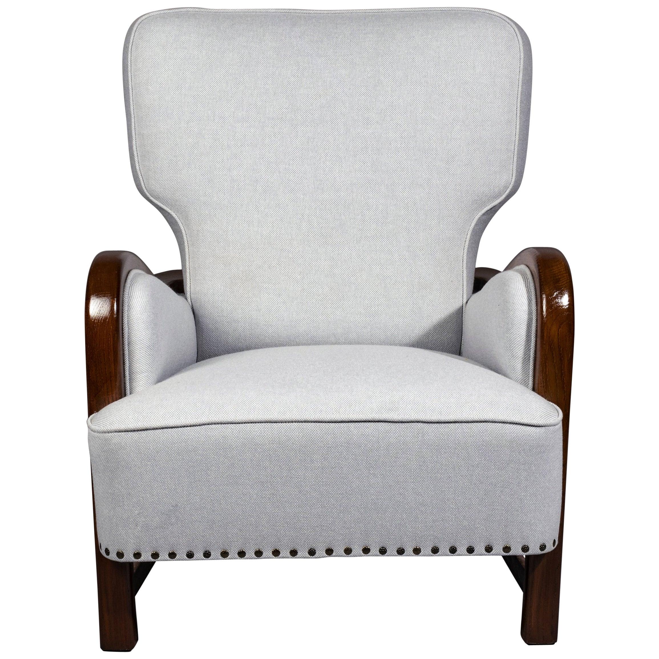 Sculptural Wingback Chair, Denmark, 1940s