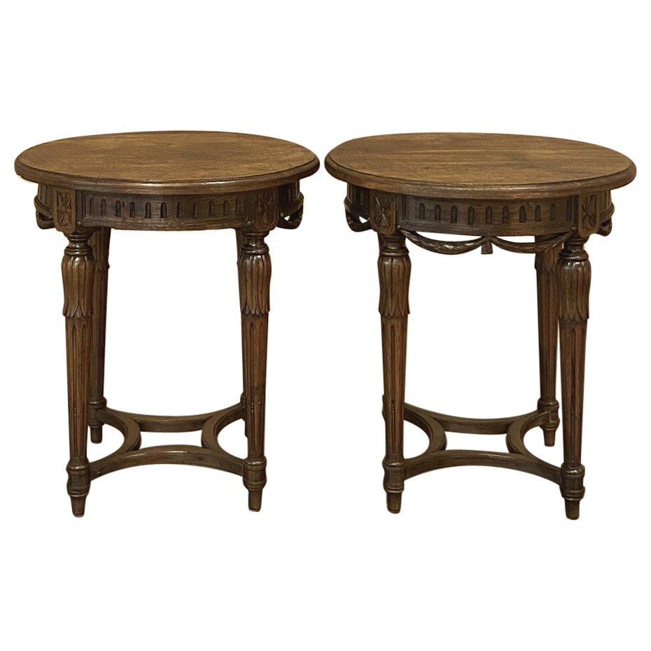 Pair 19th Century French Louis XVI Round End Tables