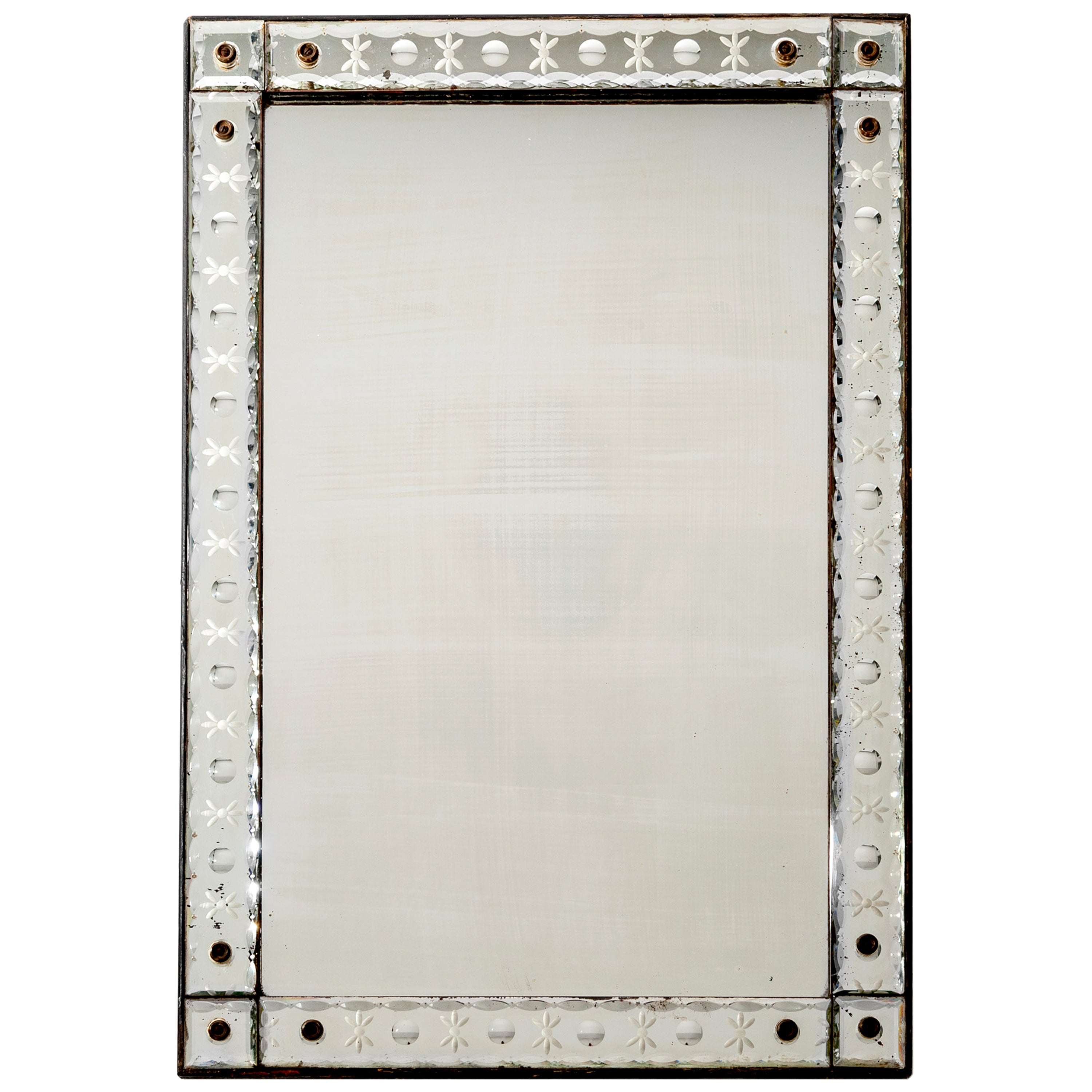 French Rectangular Crystal Mirror with Engraving from the 1940s
