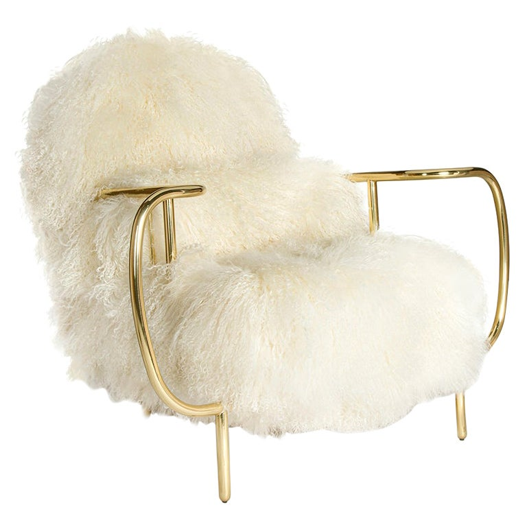 Modern Liberty Armchair Low Back in Polished Brass and White Sheep Fur Cushions