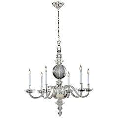 Large Six-Light Crystal Chandelier