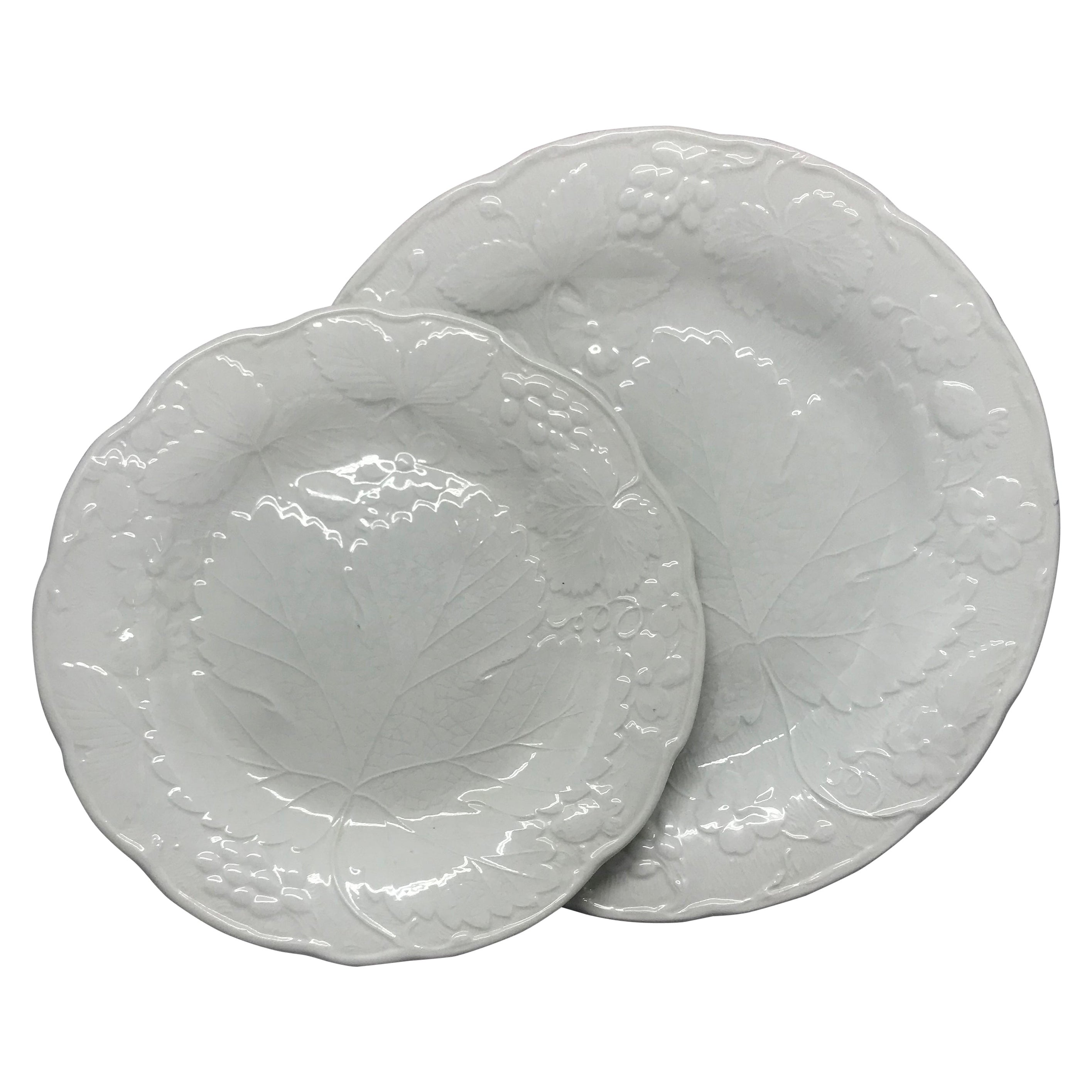 Set of Ten Each White Strawberry Leaf Dinner and Lunch/Dessert Plates