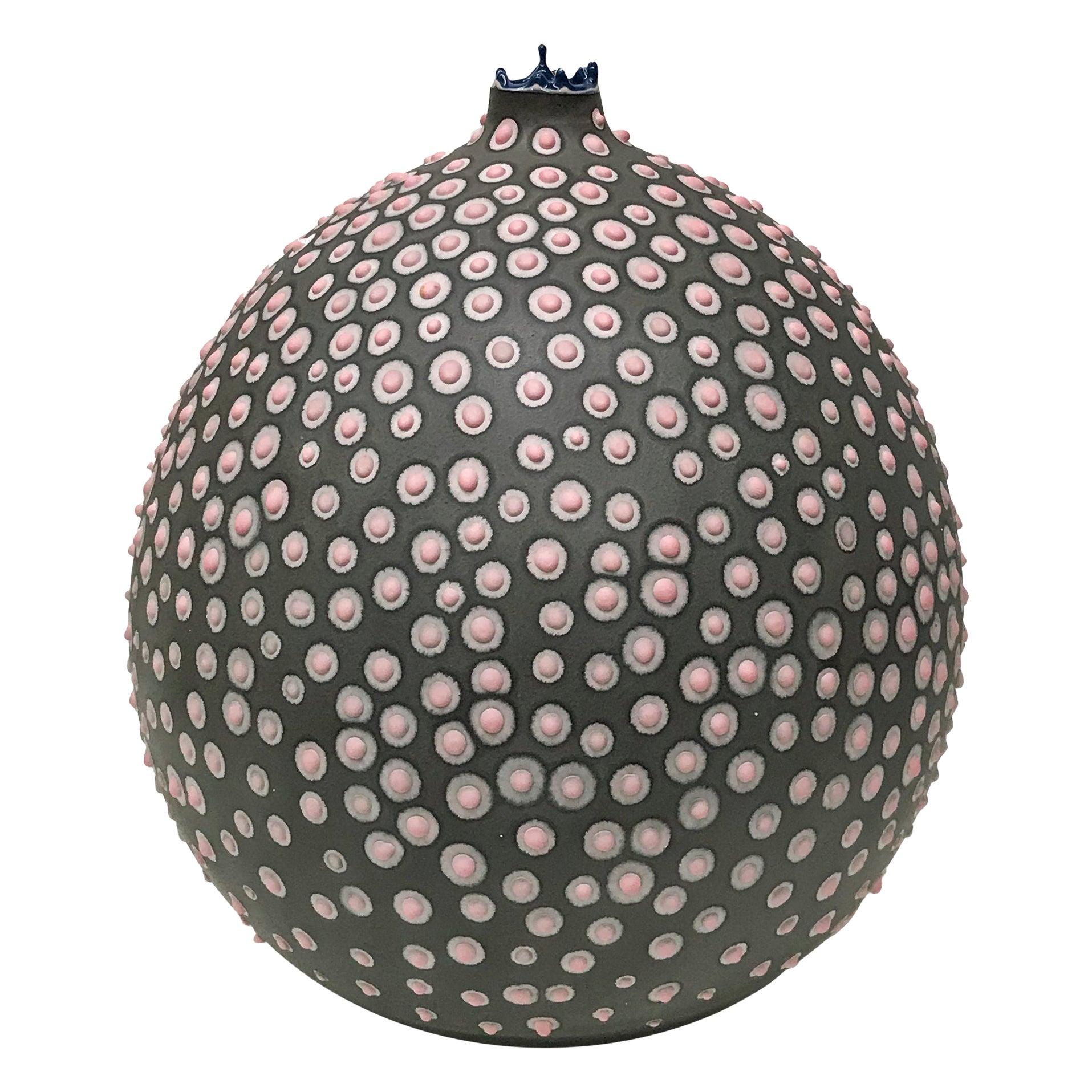 Unique Handmade 21st Century Medium Round Vase in Gray and Pink by Elyse Graham