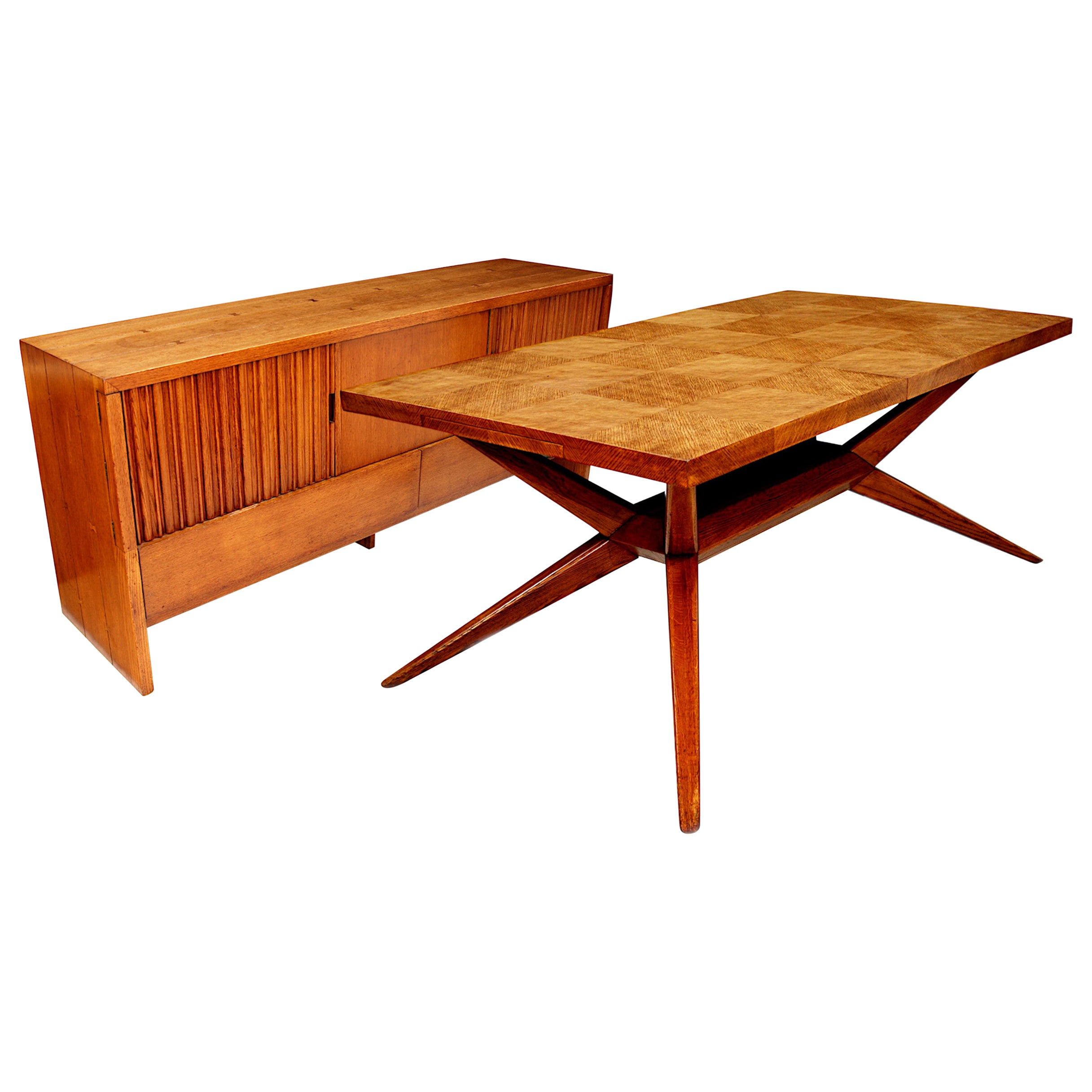 Mid-Century Modern Dining Table & Sideboard Set by Harold Schwartz for Romweber
