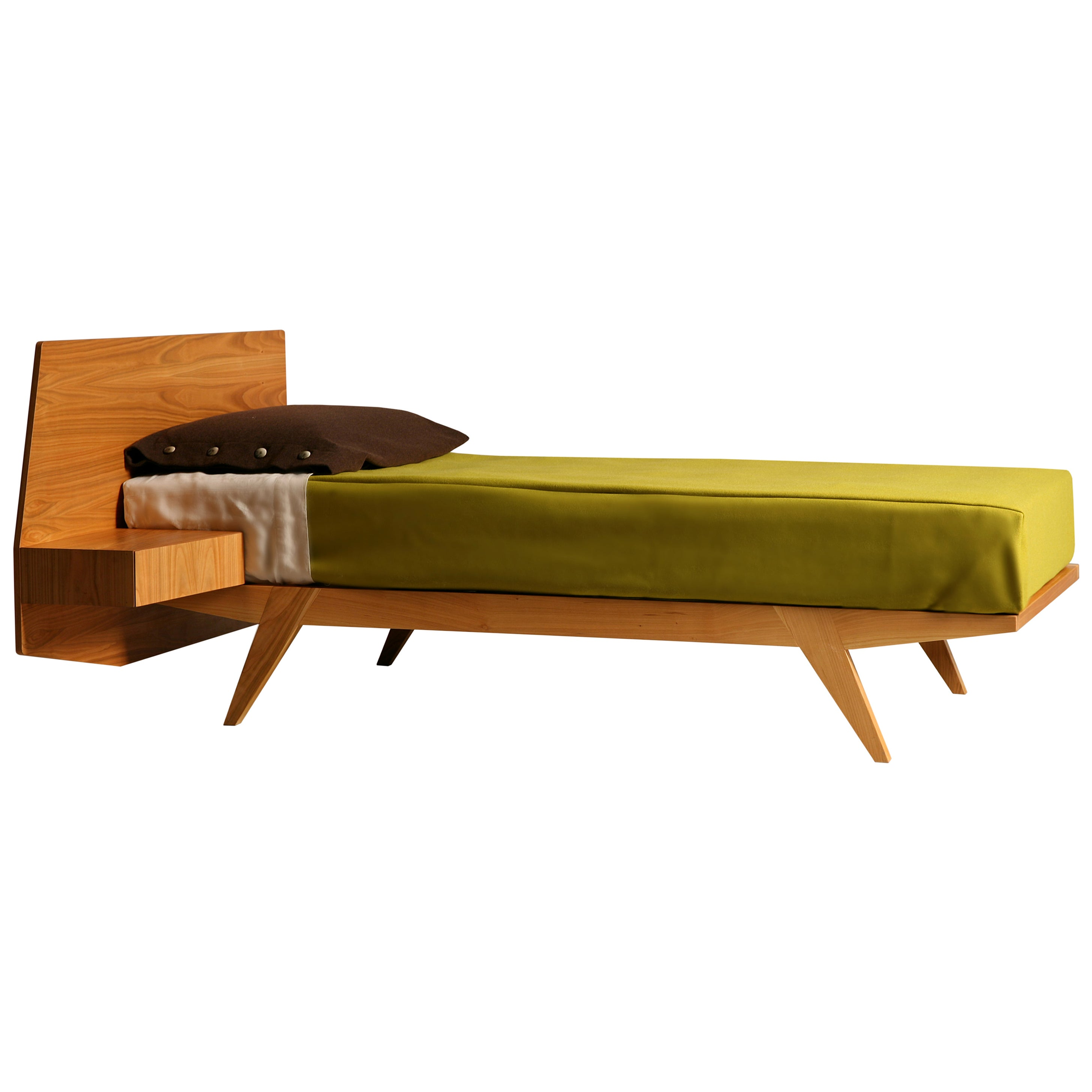Morelato Gio' Bed, Made of Cherrywood with Drawer on Headboard