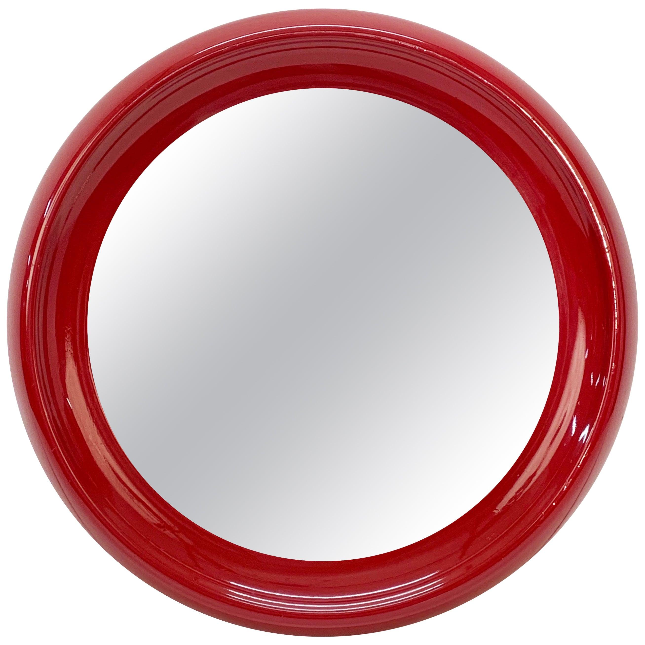 Midcentury Round Italian Mirror with Red Lacquered Resin Frame, 1970s