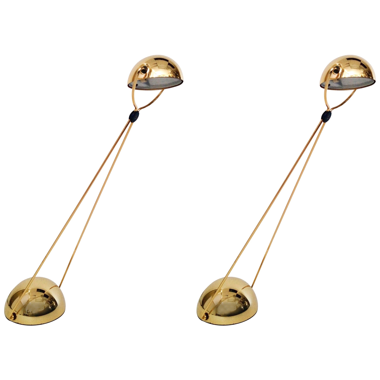 Gold-Plated Halogen Table Lamp 'Meridiana' by Stephano Cevoli, 1980s, Italia
