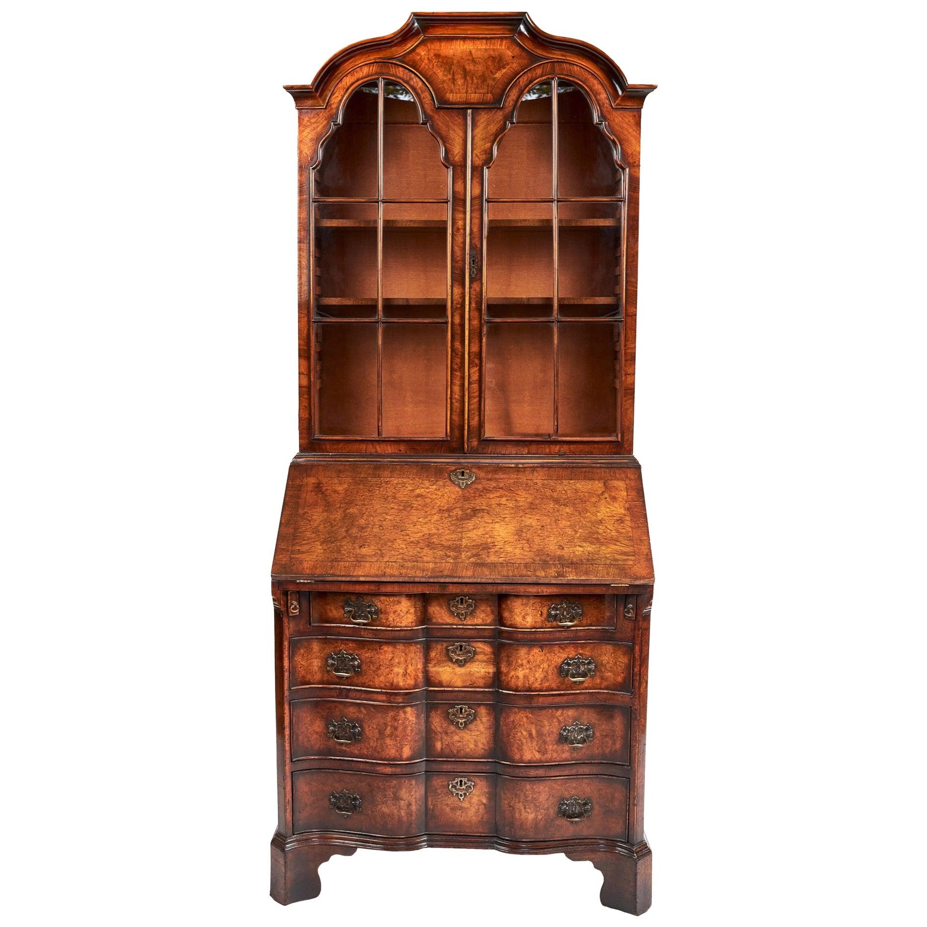 Magnificent Antique Queen Anne Revival Walnut Bureau Bookcase