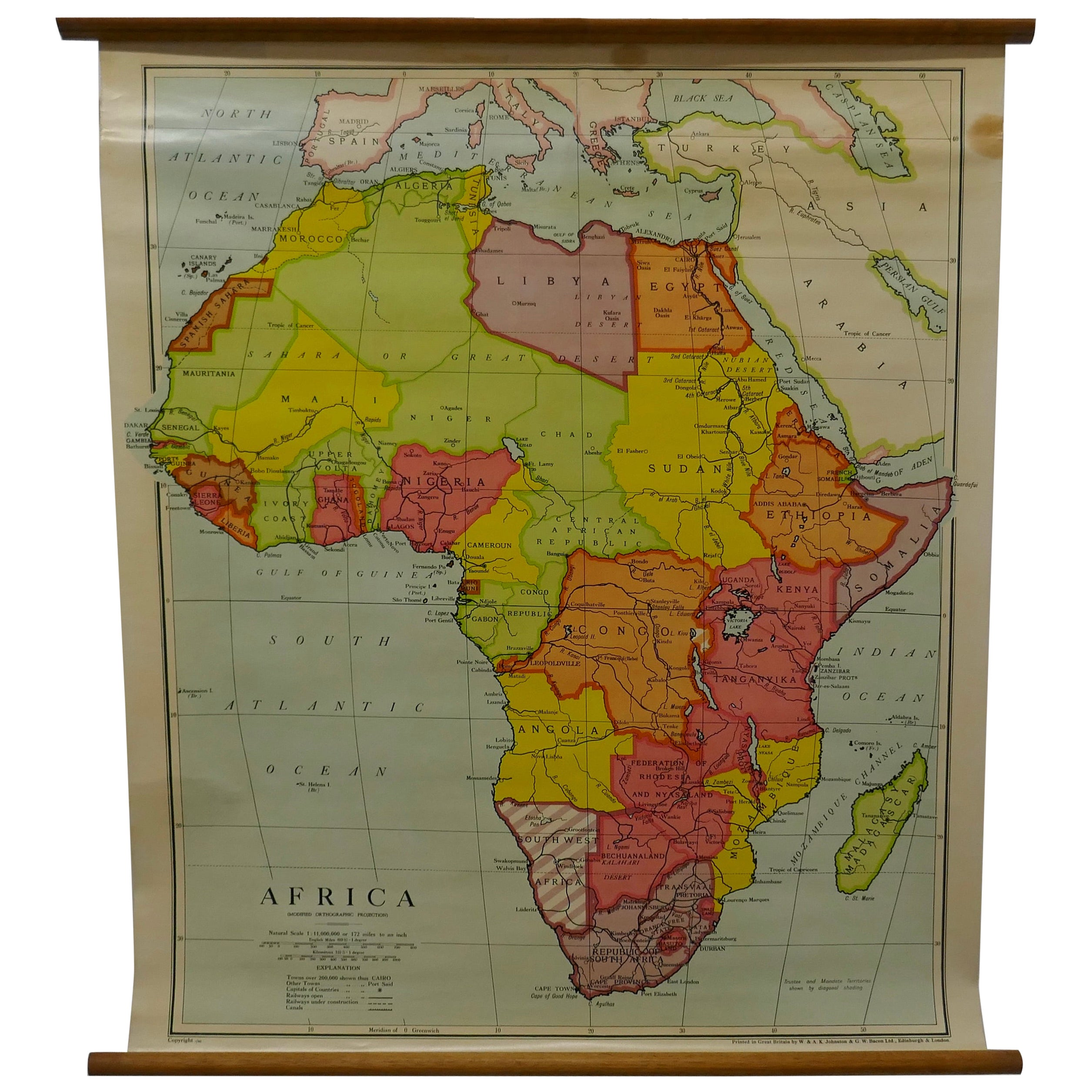 """Large University Chart """"Physical Map of Africa"""" by Bacon"""