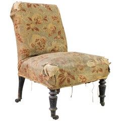 French Slipper Chair in Distressed Fabric