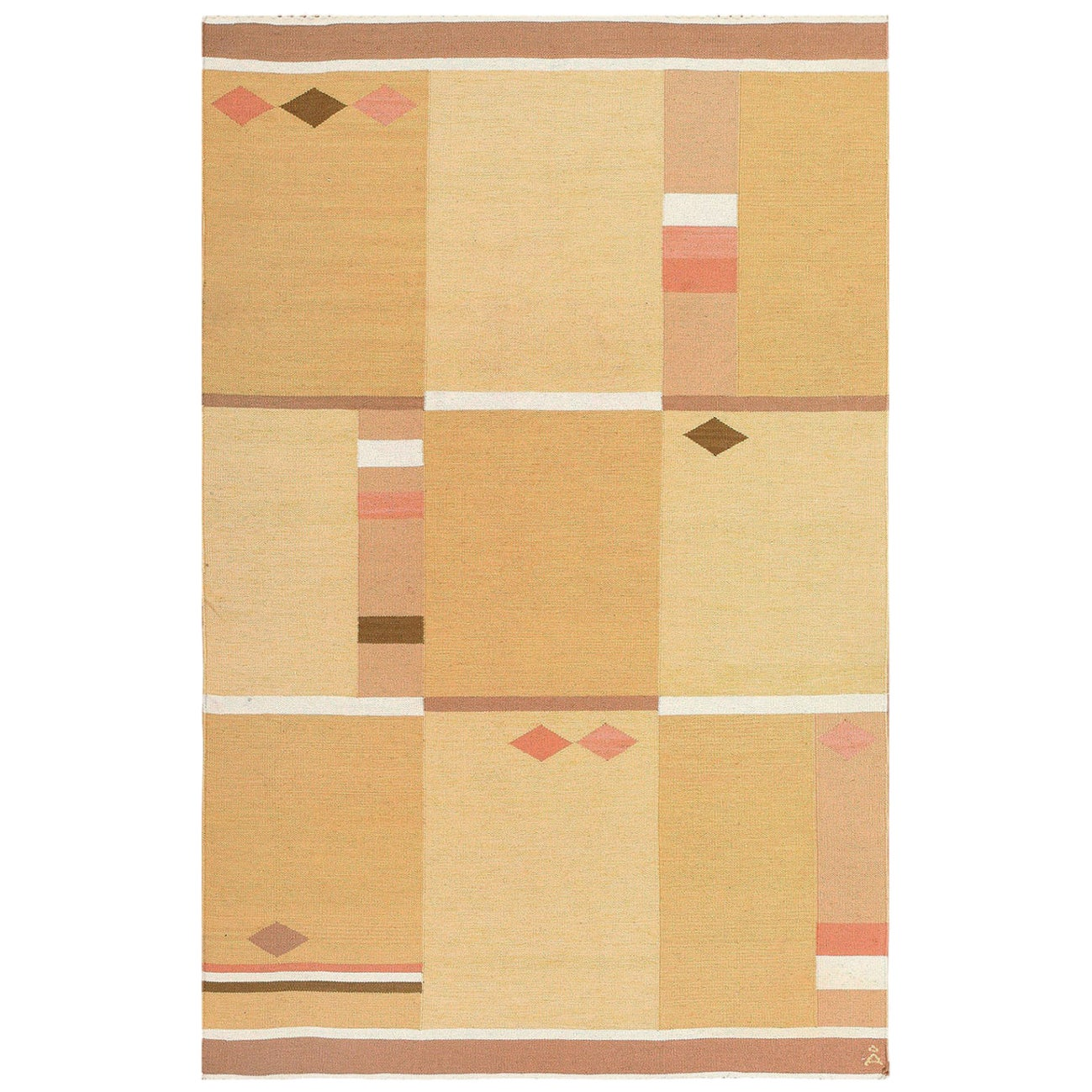 Vintage Swedish Rug by Anna Joanna Angstrom. Size: 4 ft 5 in x 6 ft 7 in