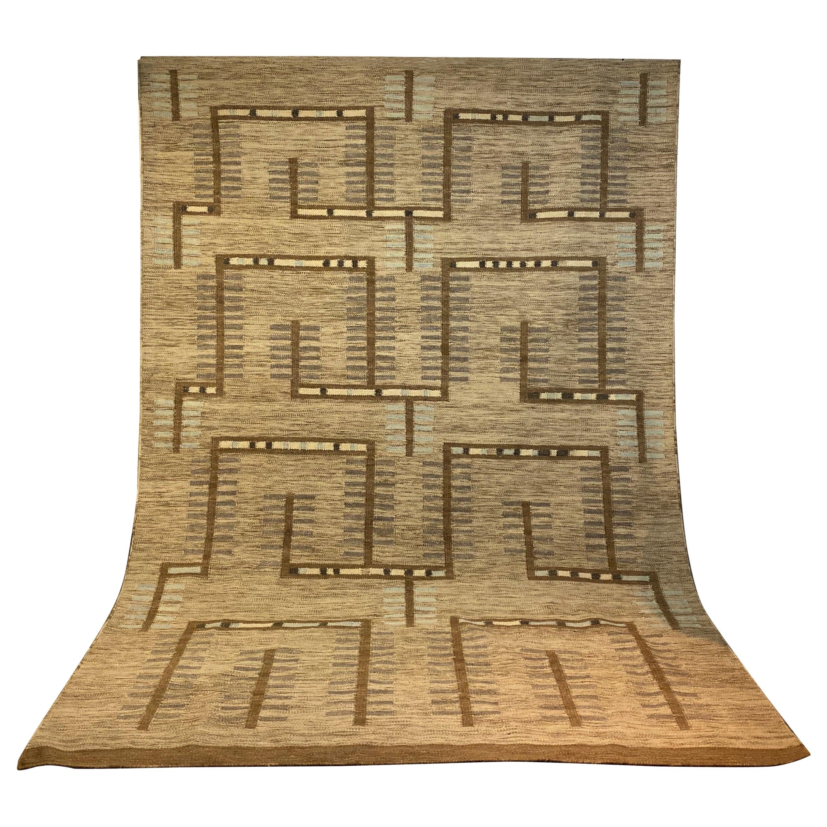 Swedish Flat-Weave Wool Carpet