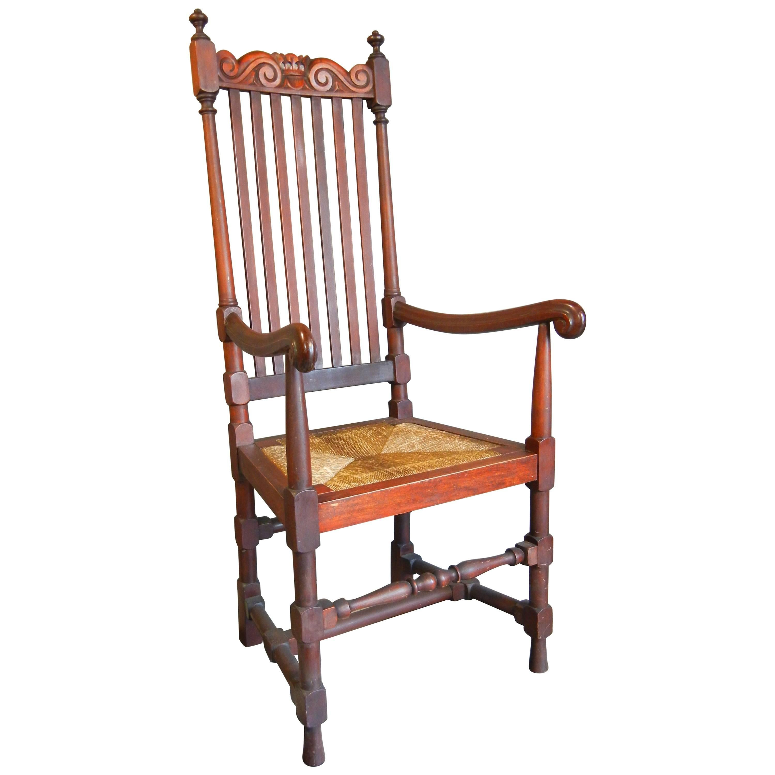 William And Mary Style Carved Mahogany Arm Chair, Colonial Revival, Circa  1895 1