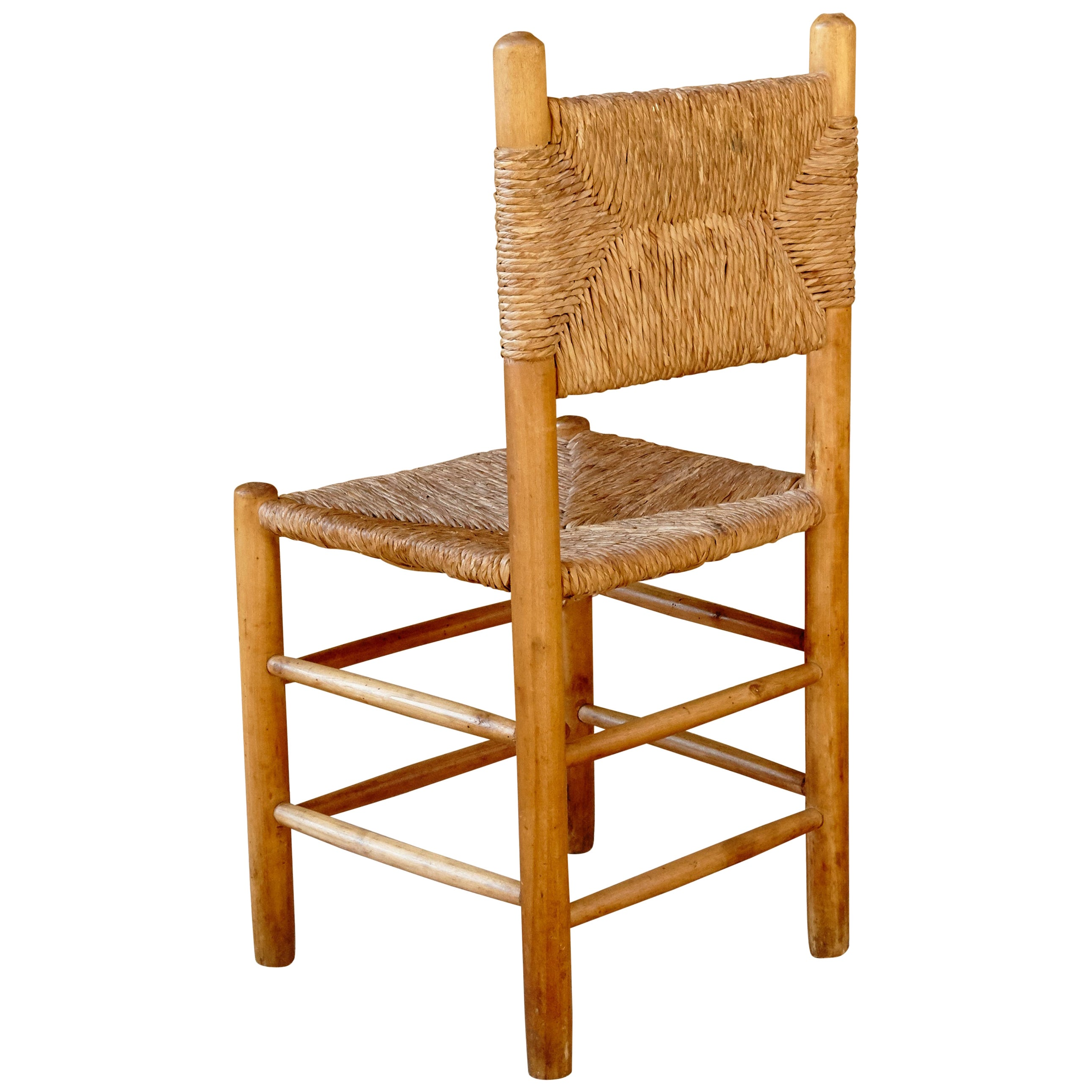 Chair after Charlotte Perriand, Wood Rattan, Mid-Century Modern